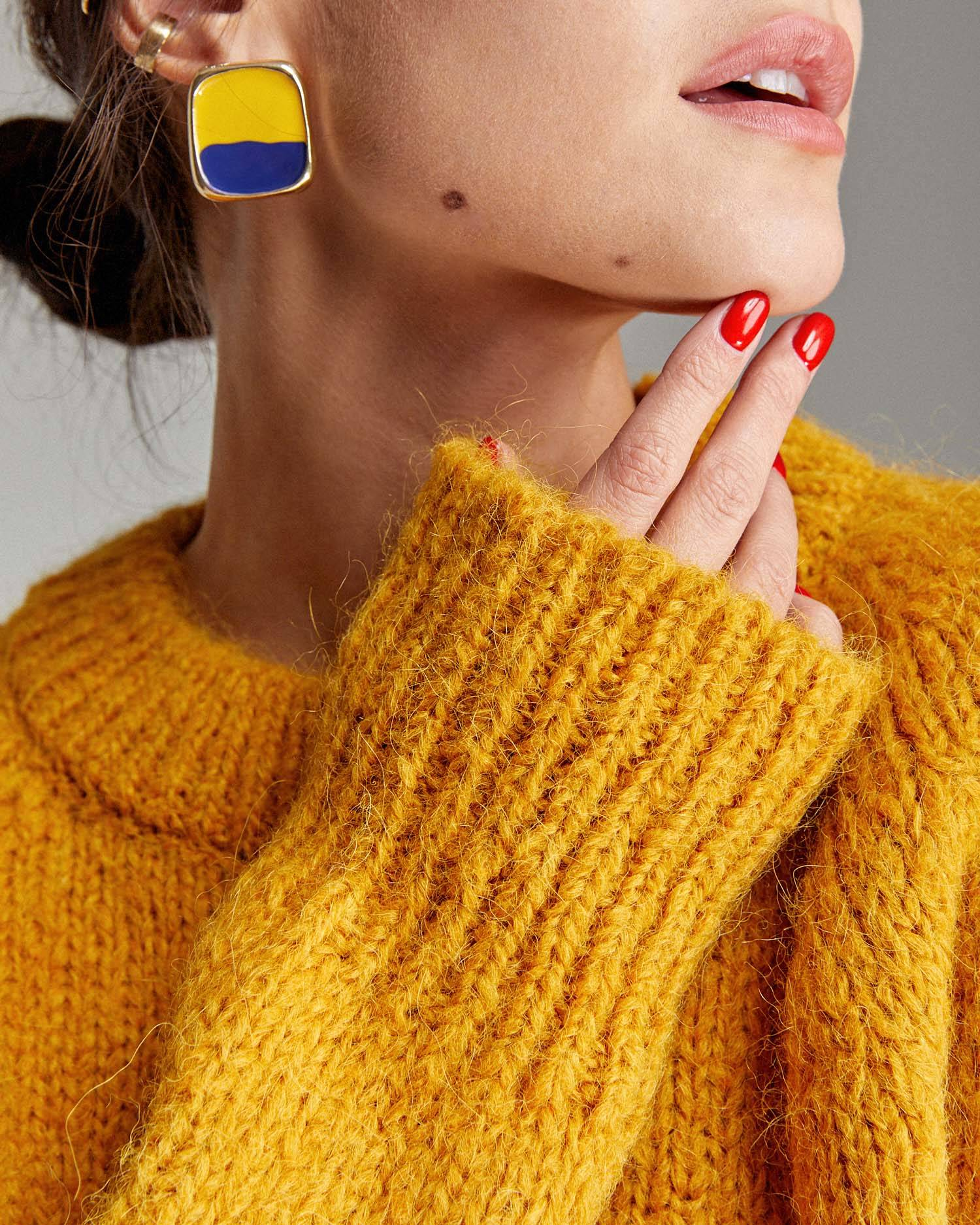 Oversize jacqurd knit sweater