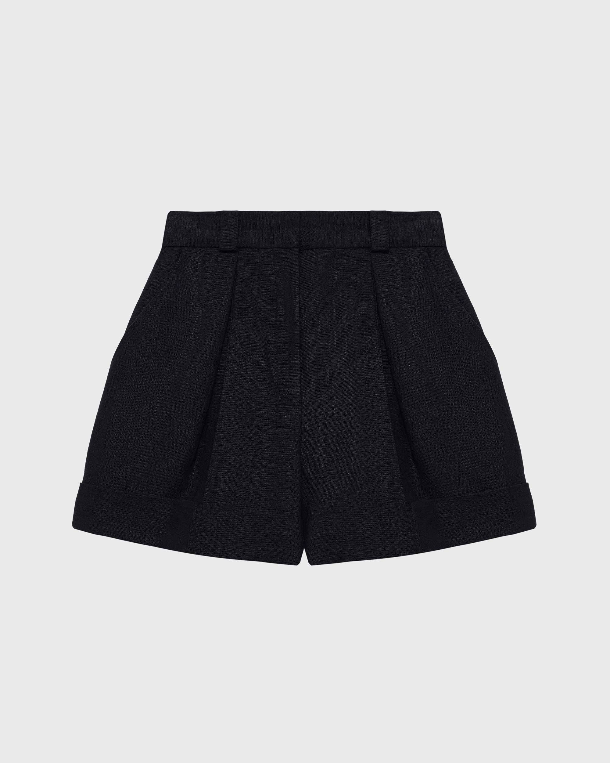 High-waisted linen shorts