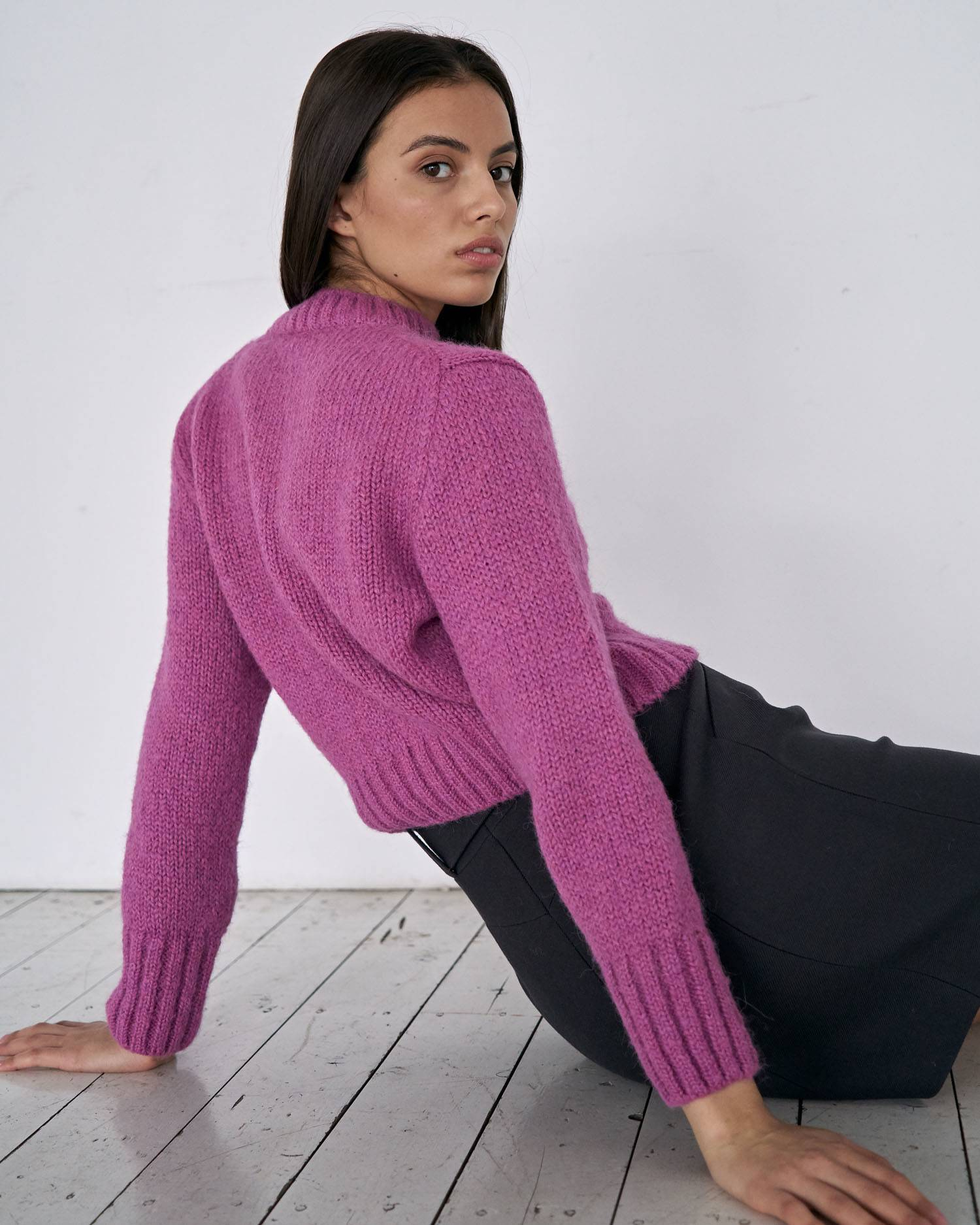 Cropped alpaca wool sweater