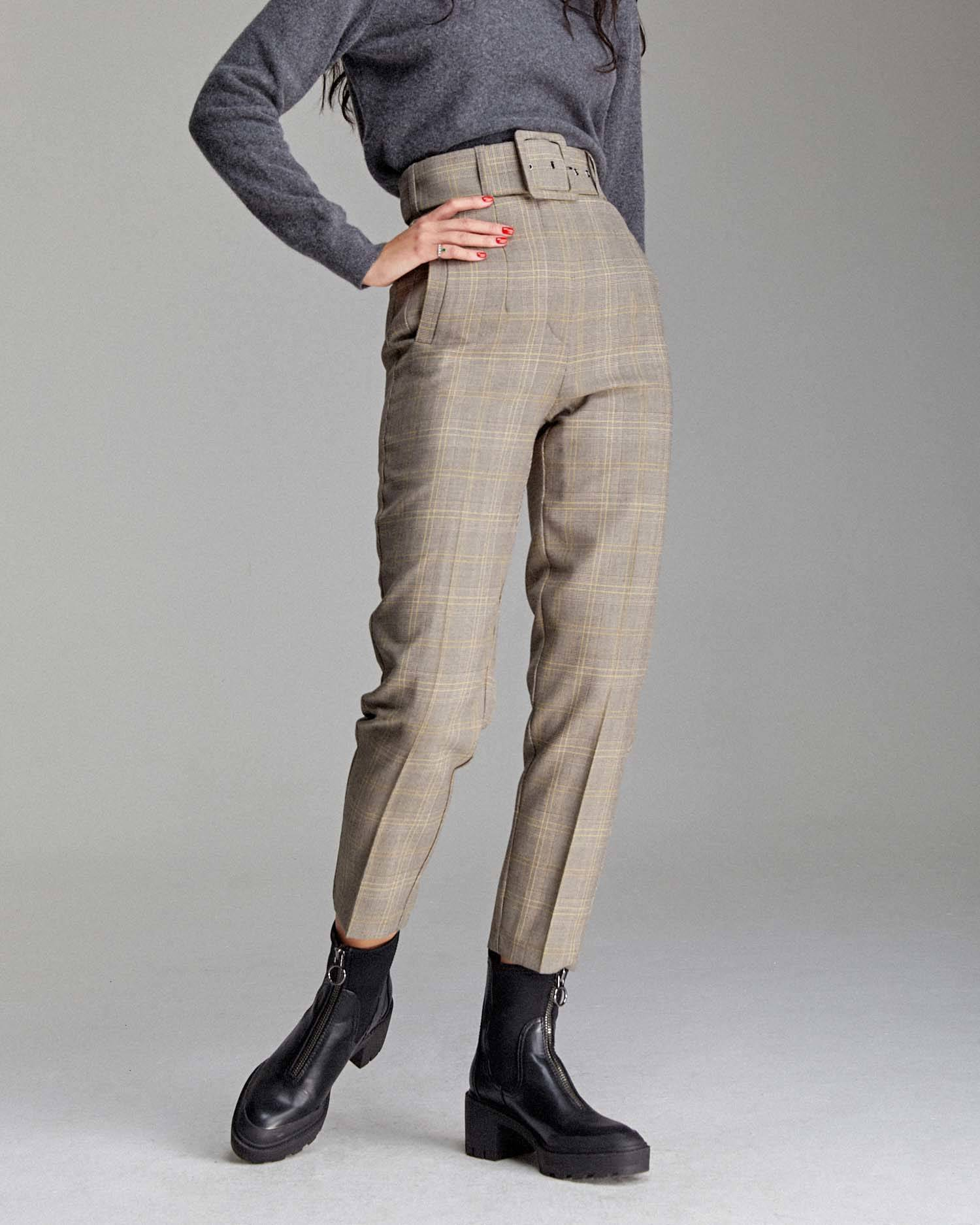 Cigarette pants with belt