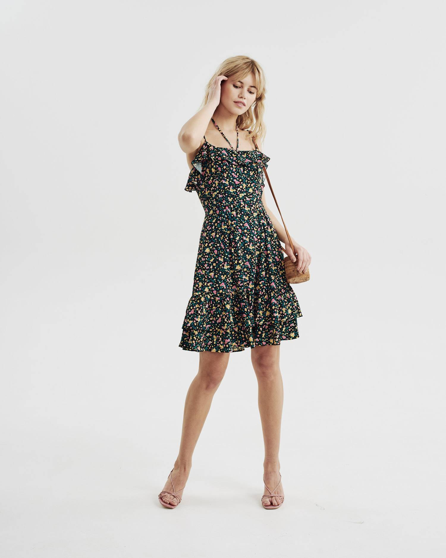 Floral print ruched dress