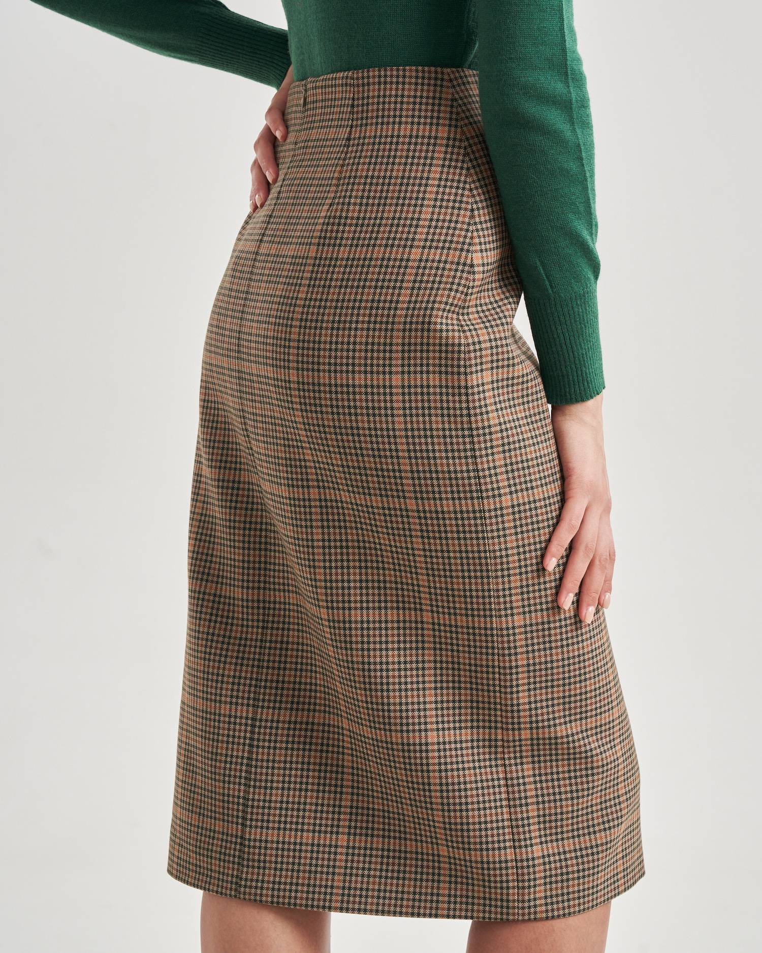 Side button midi skirt