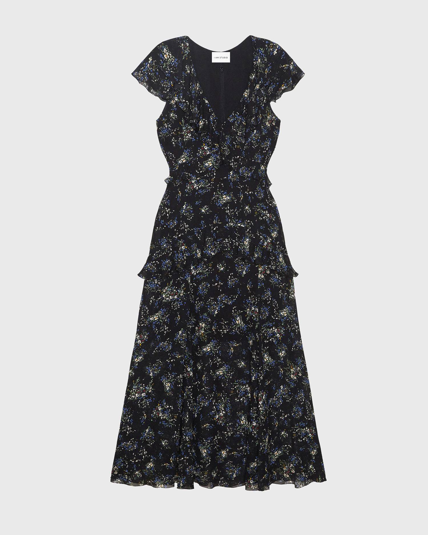 Floral print ruched tea dress
