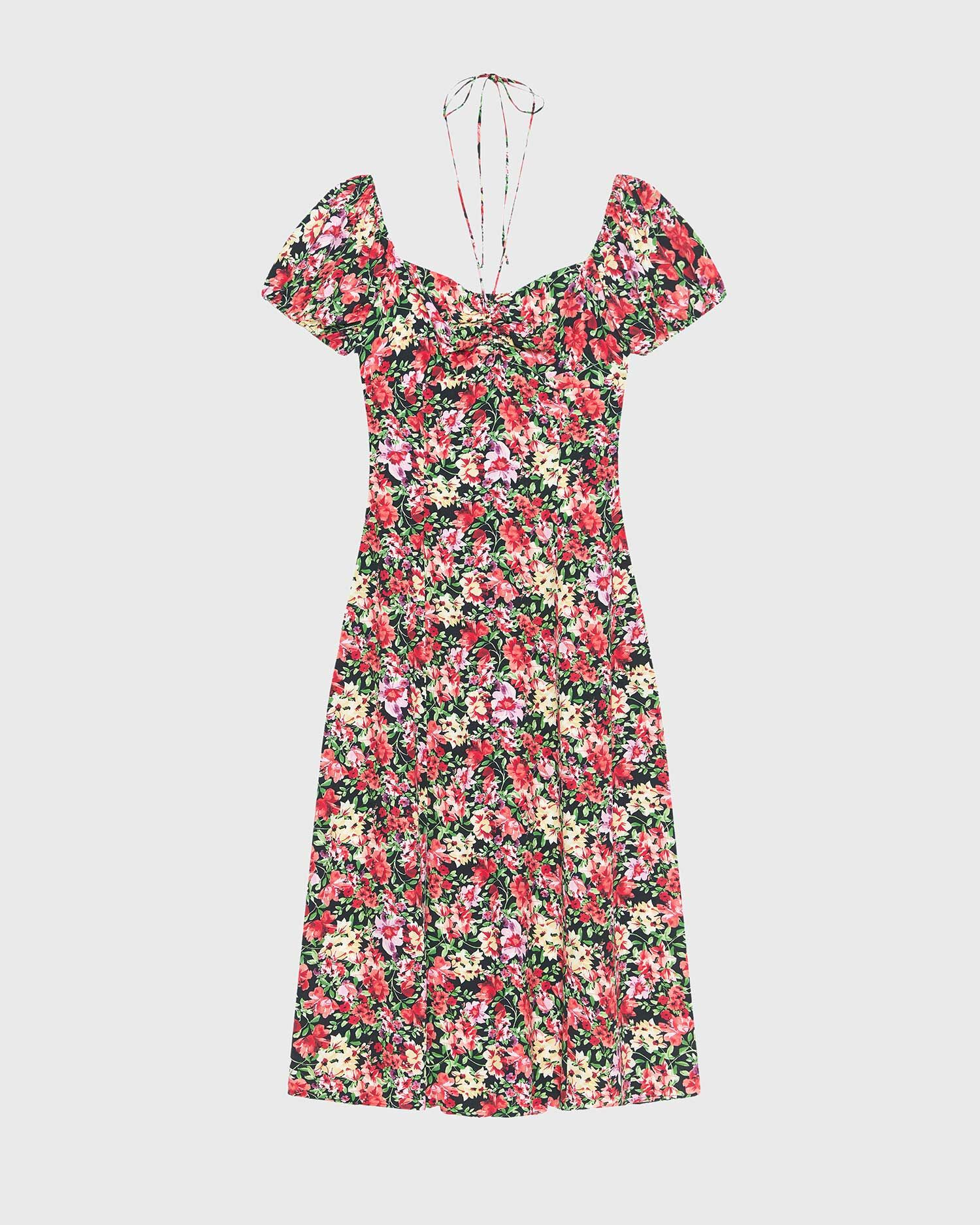 Vintage print ruched dress