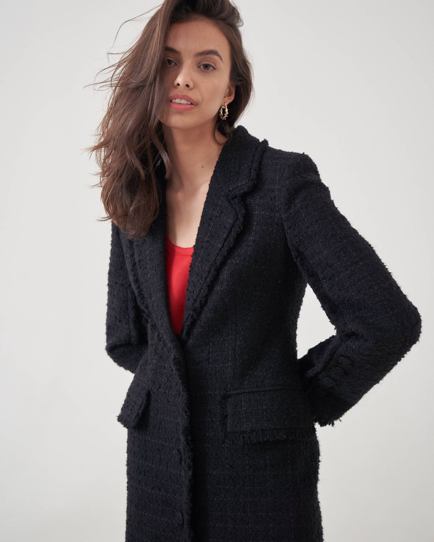 Coat-style tweed boucle jacket