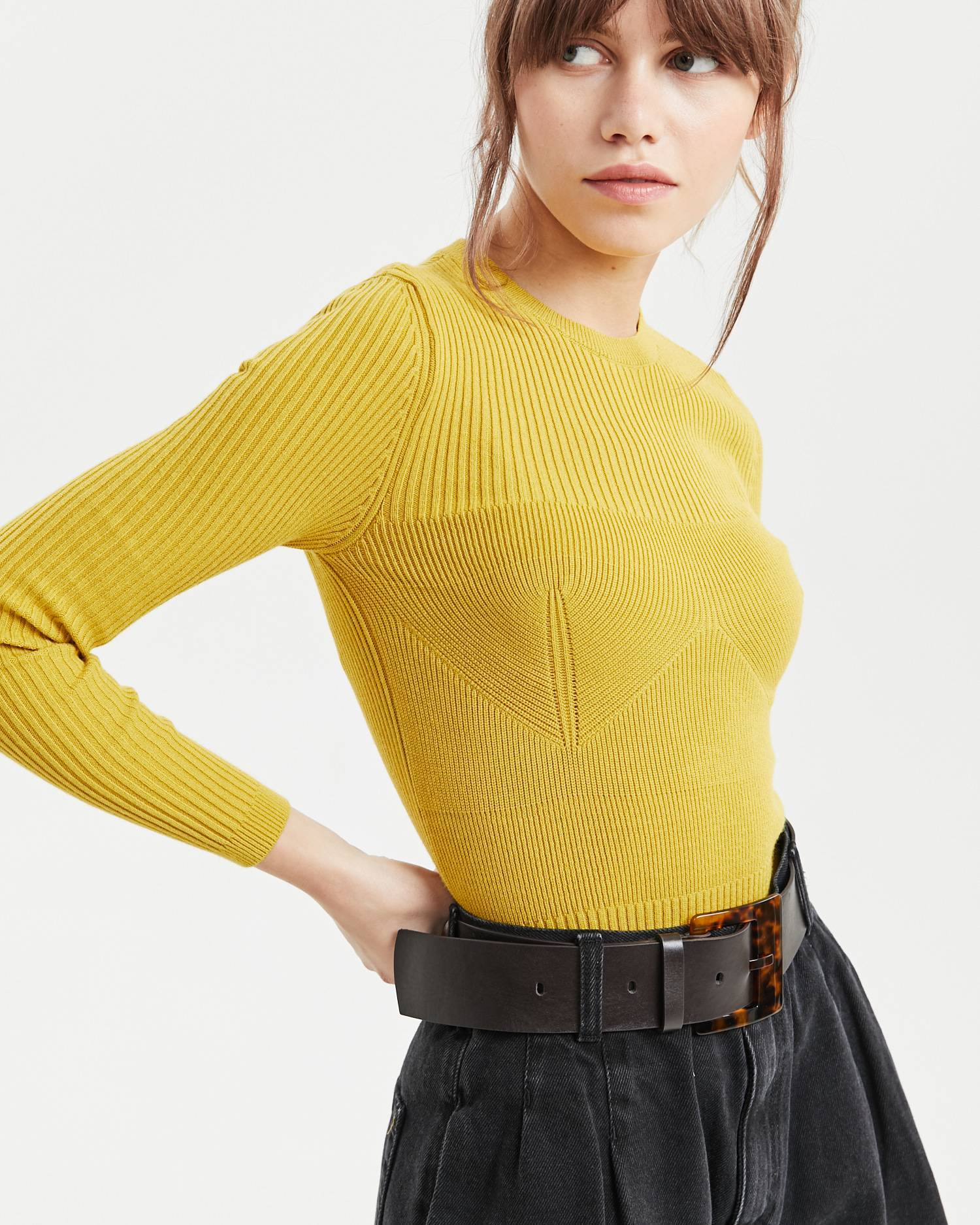 Relief style mock neck
