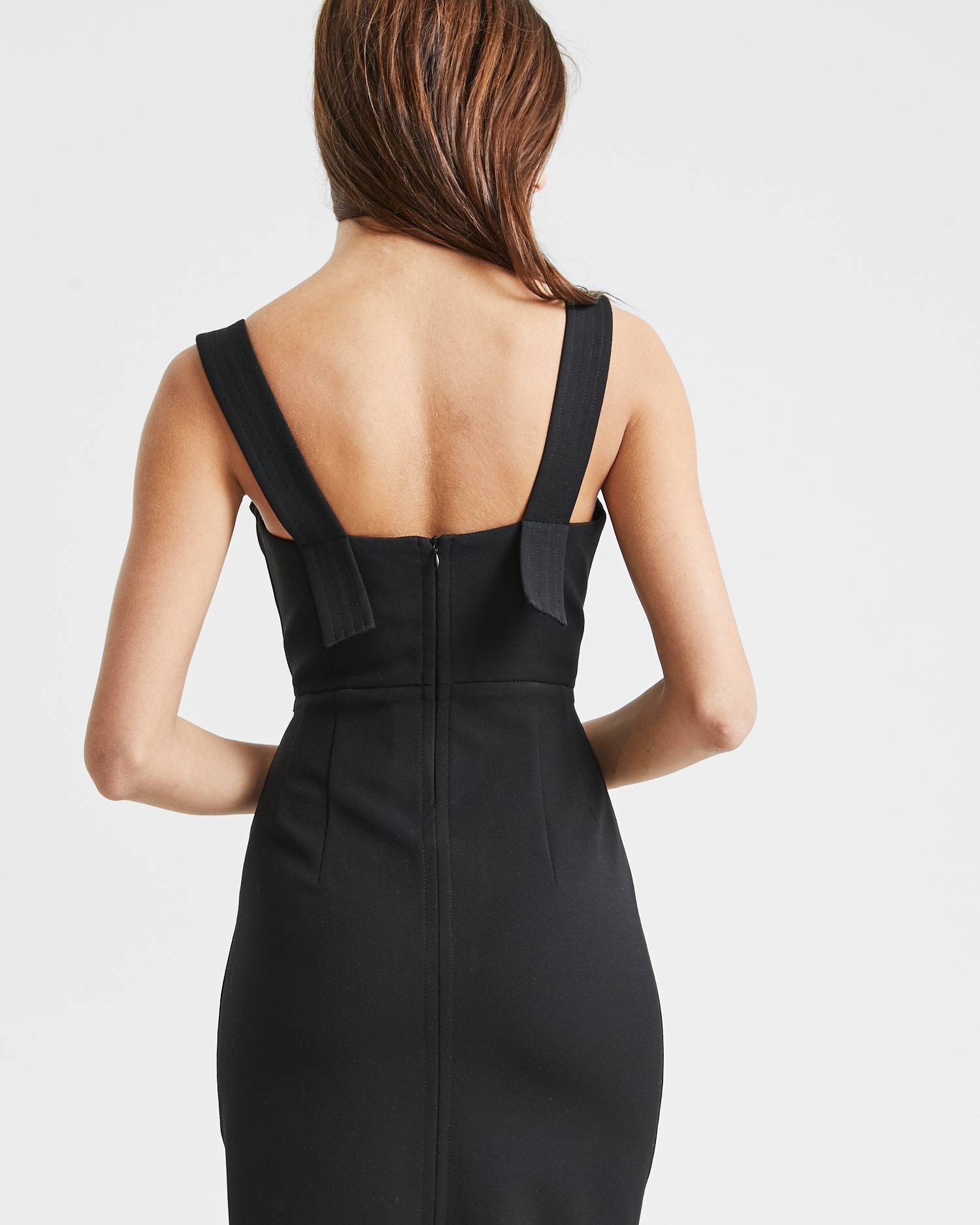 Fitted bustier dress with contrasting stitching
