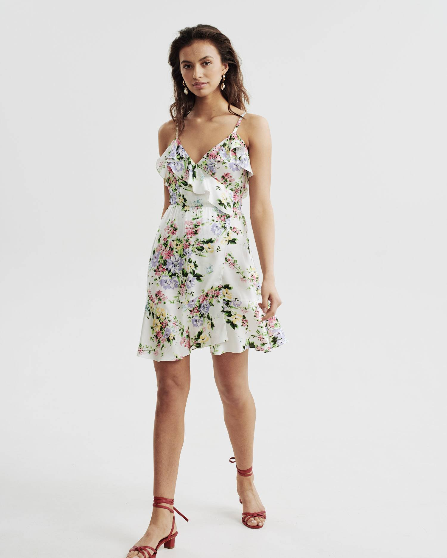 Floral print thin strap mini dress