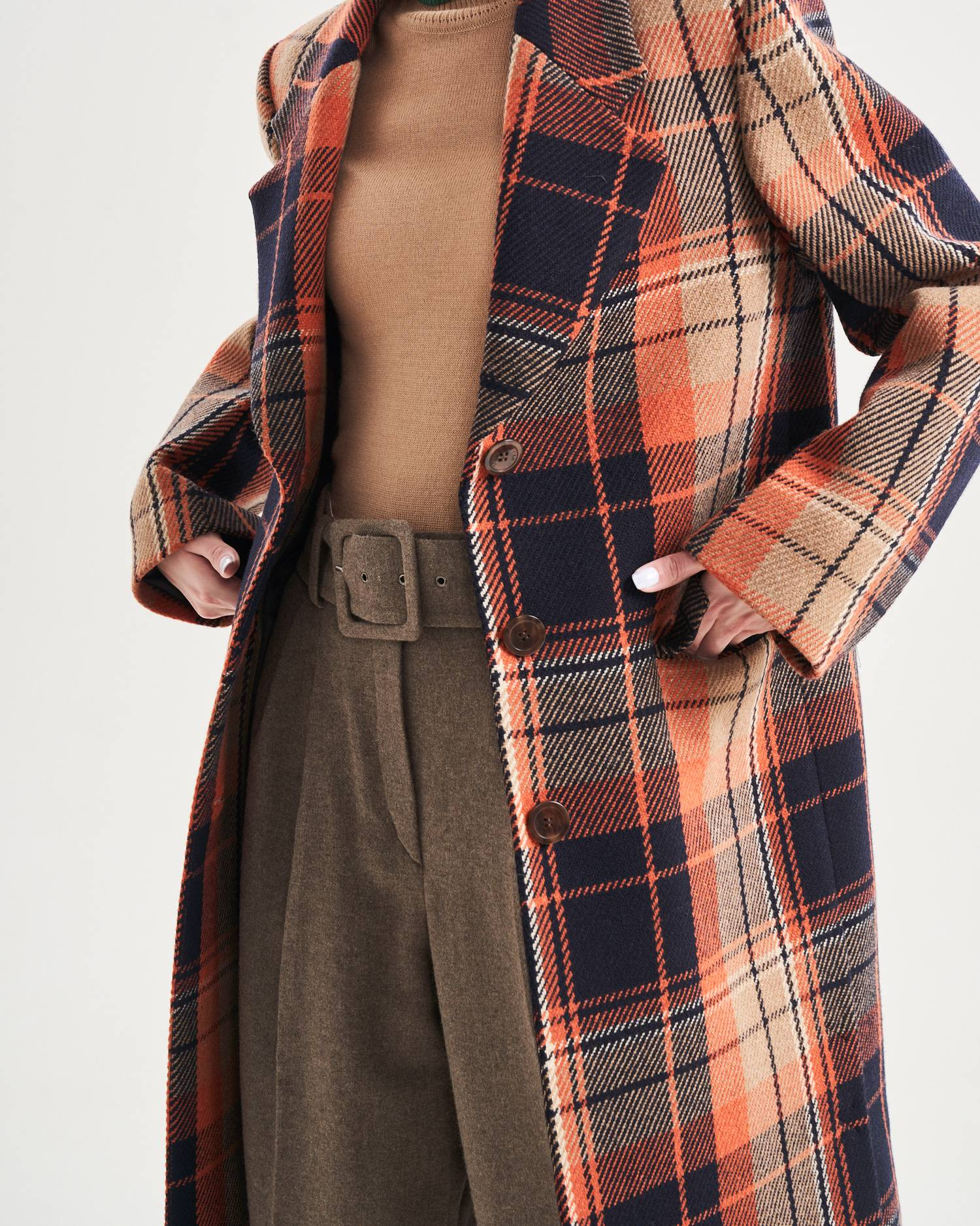 Single-breasted checked coat