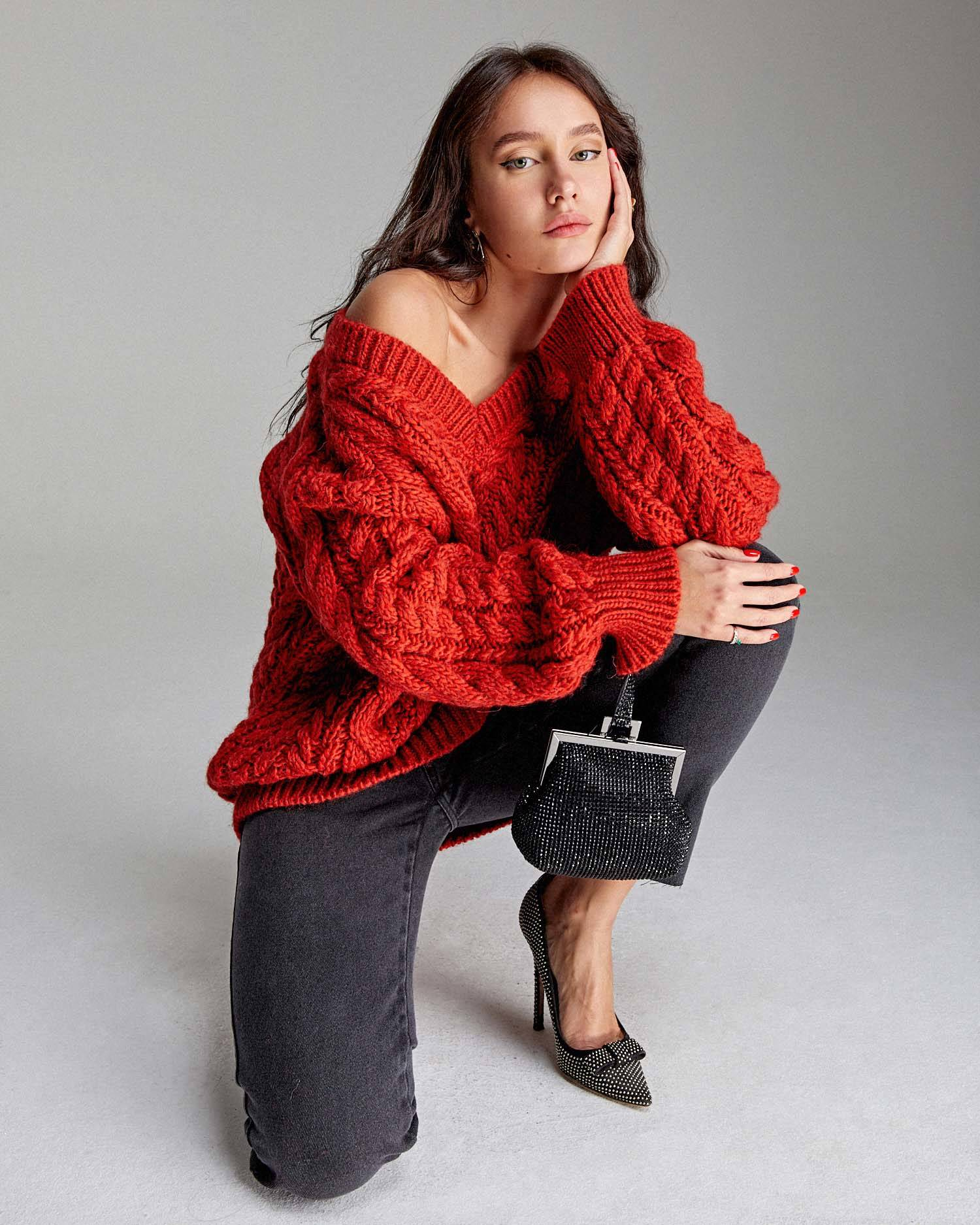Braided oversize sweater