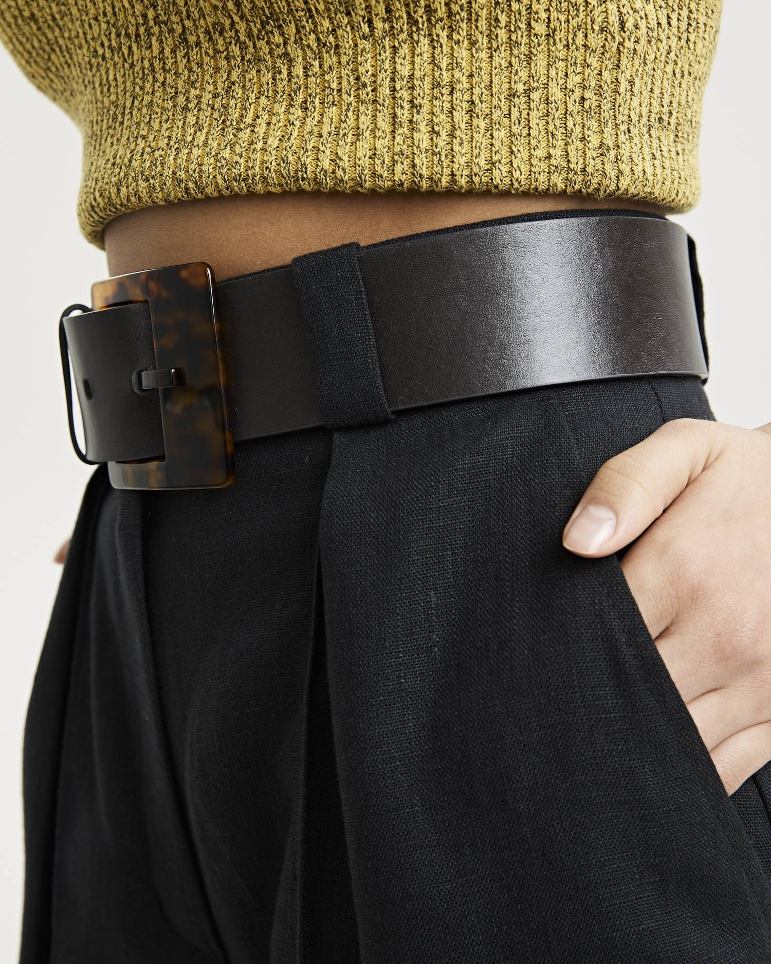 Amber buckled leather belt