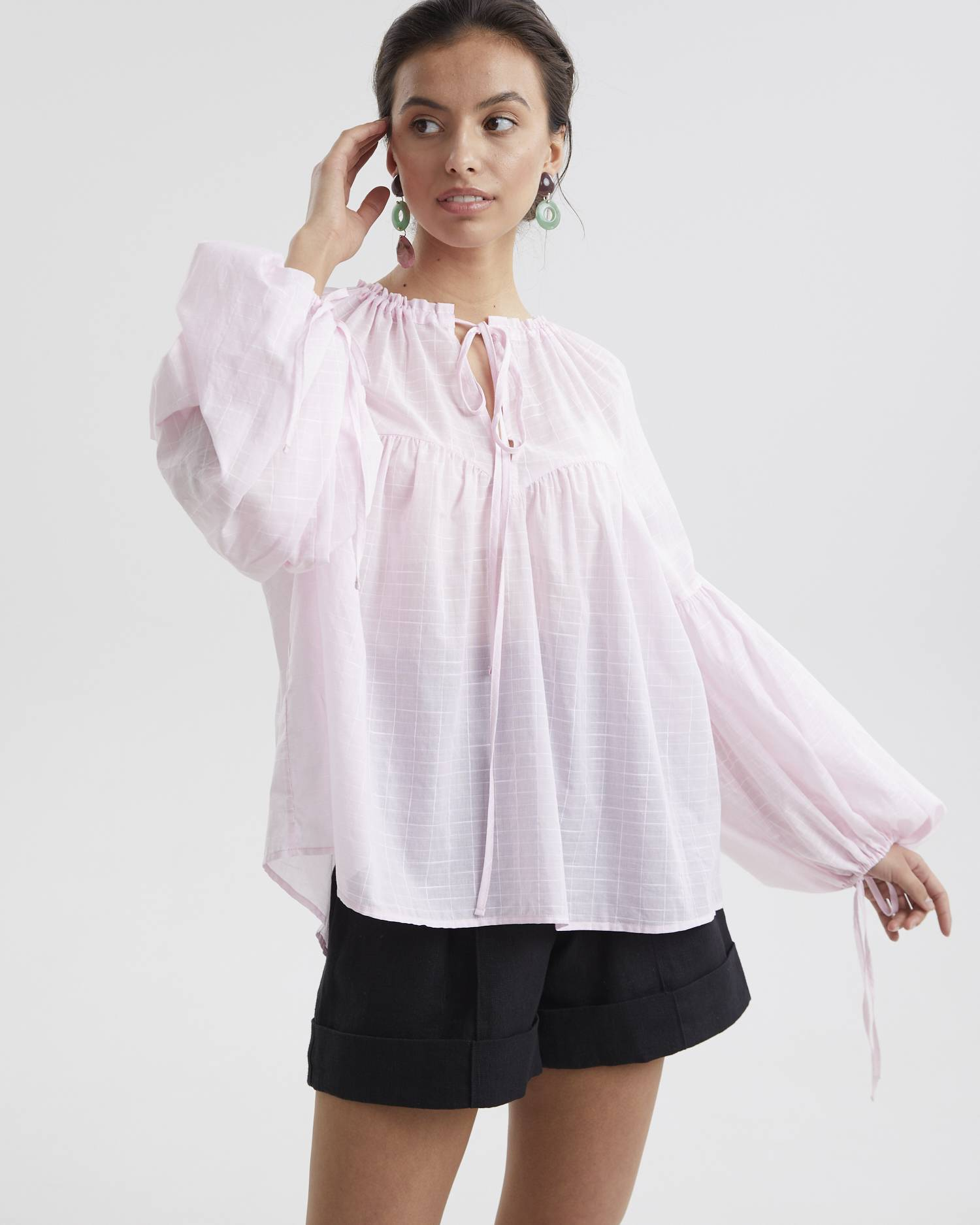 Ruched flouced blouse