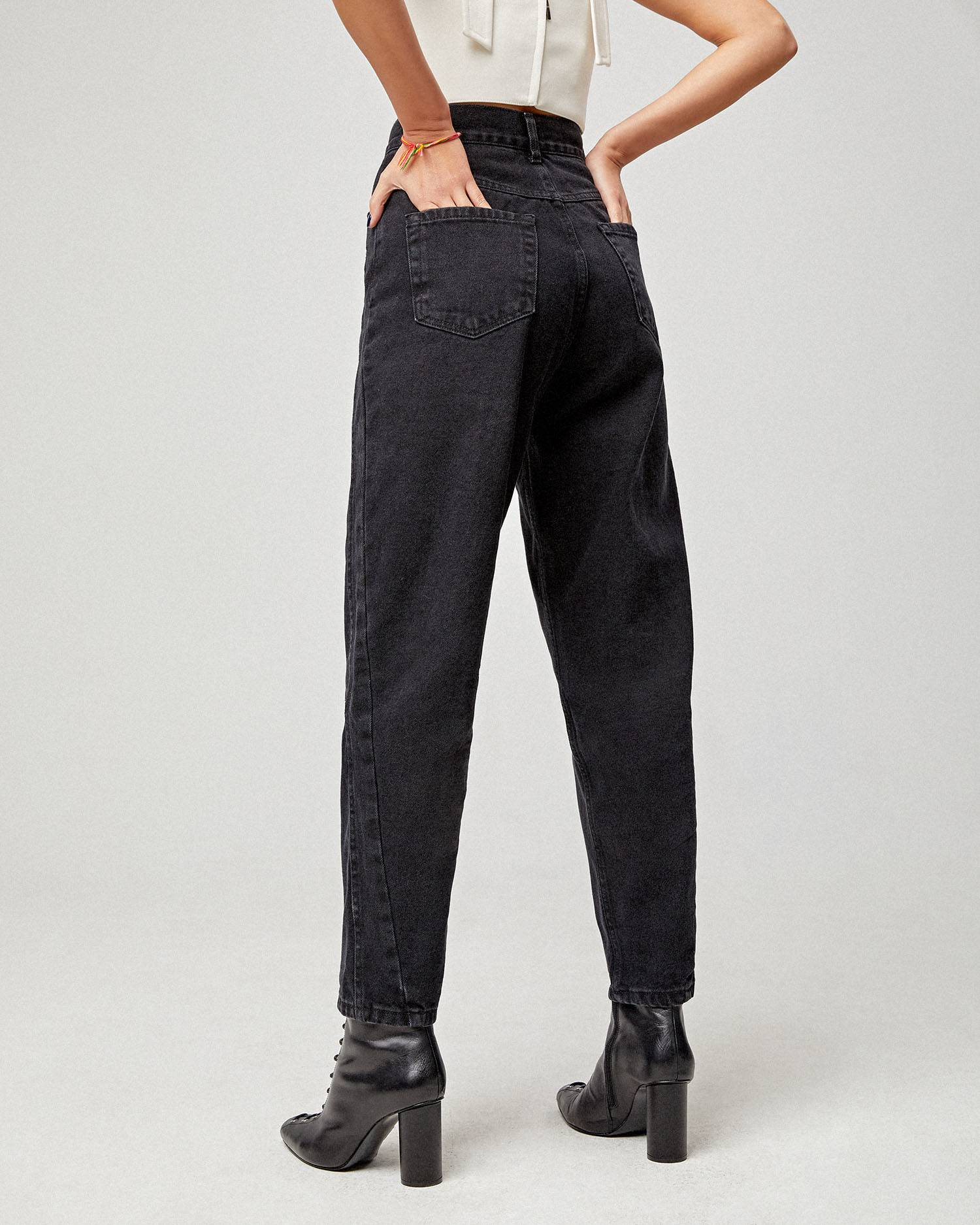 Black mom-fit jeans