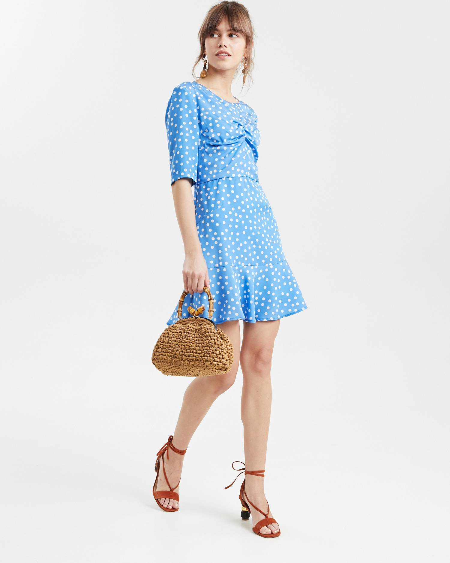 Printed ruffled mini dress