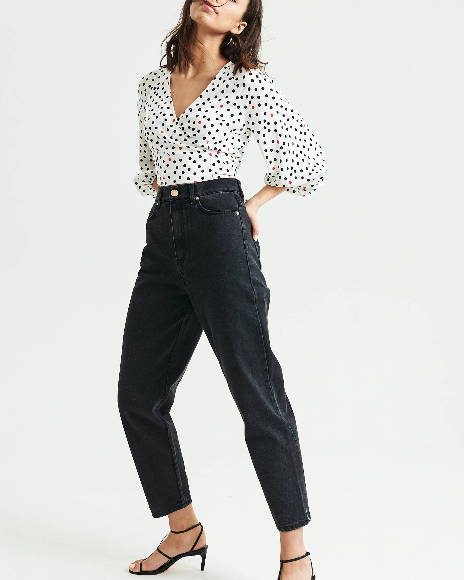 Printed wrap cropped blouse