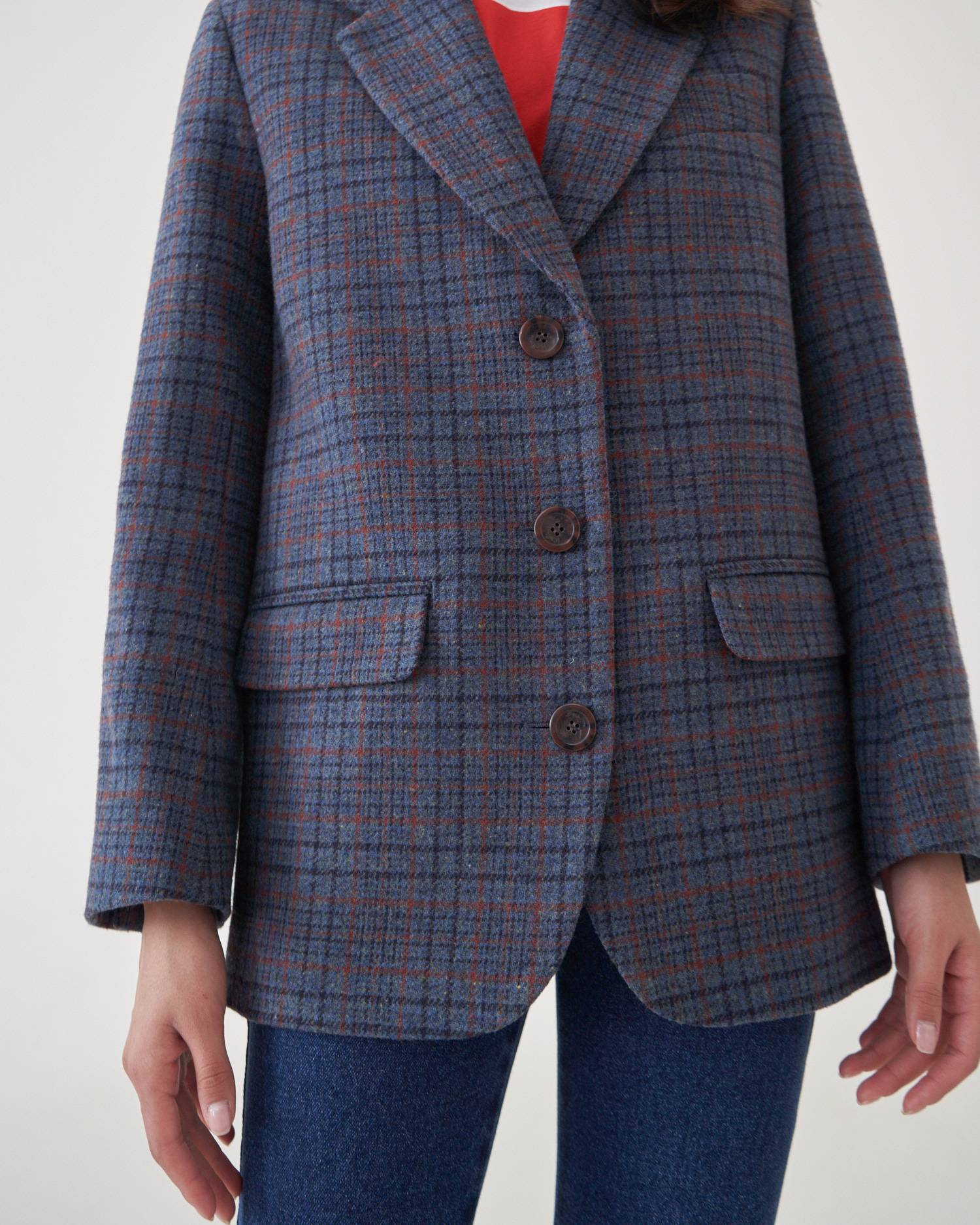 Single-breasted checked jacket