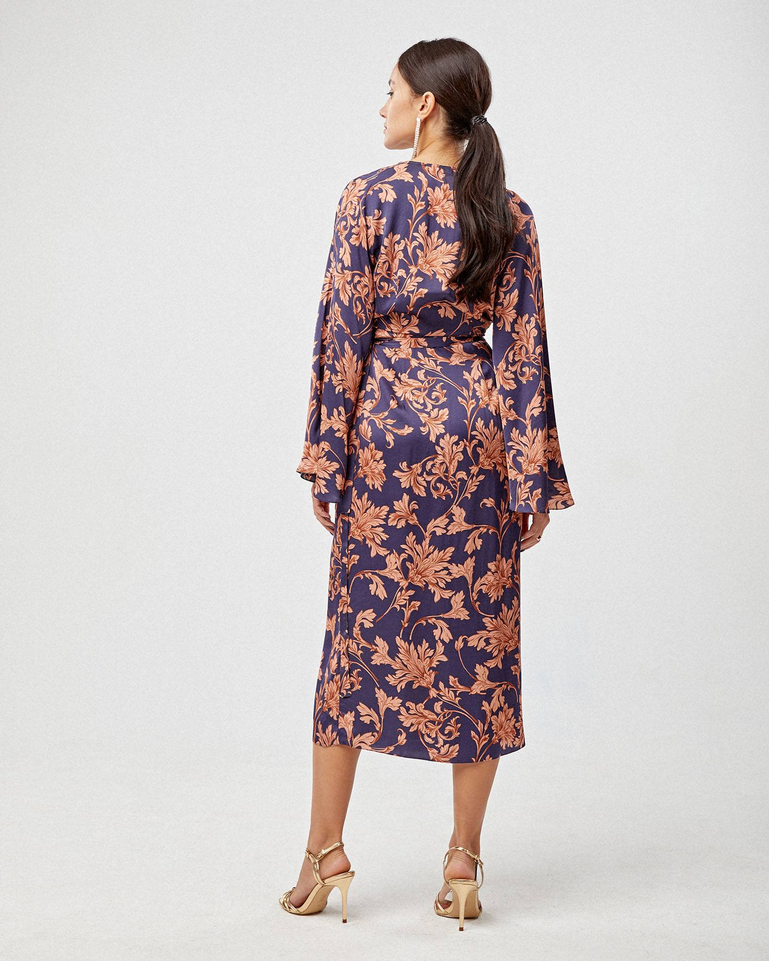 Floral printed robe dress