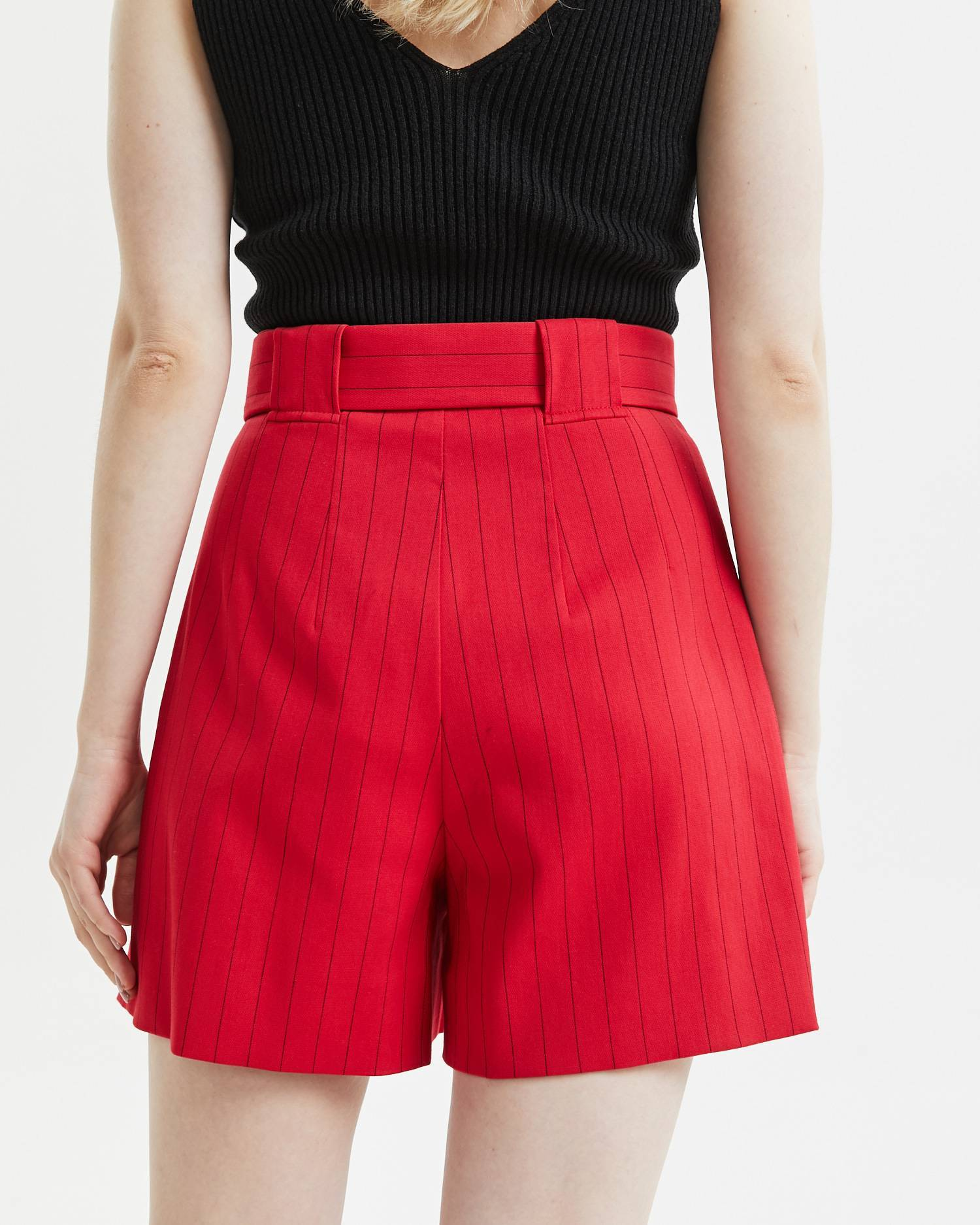 High-waisted buckled shorts