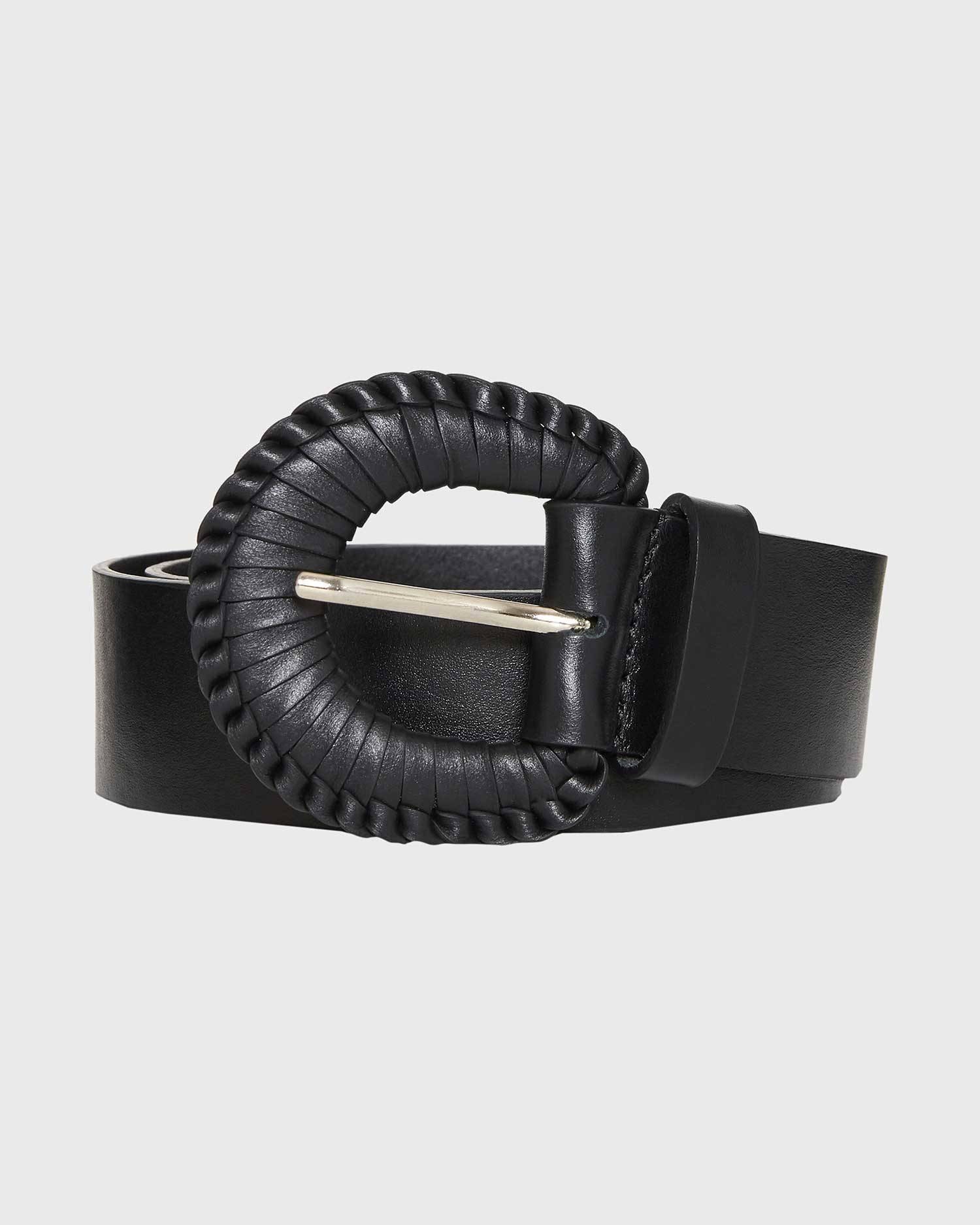 Thin leather belt with woven buckle
