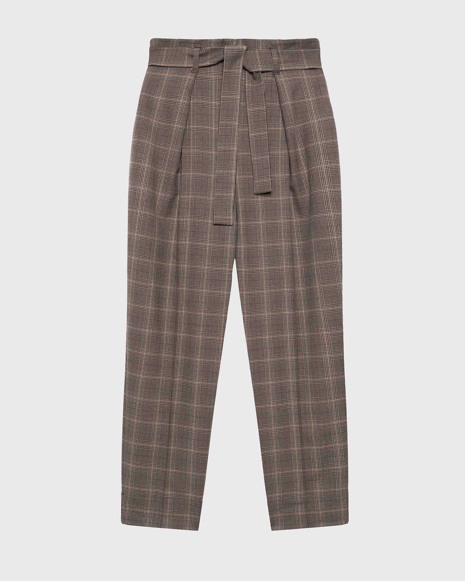 Bow-belt checked pants