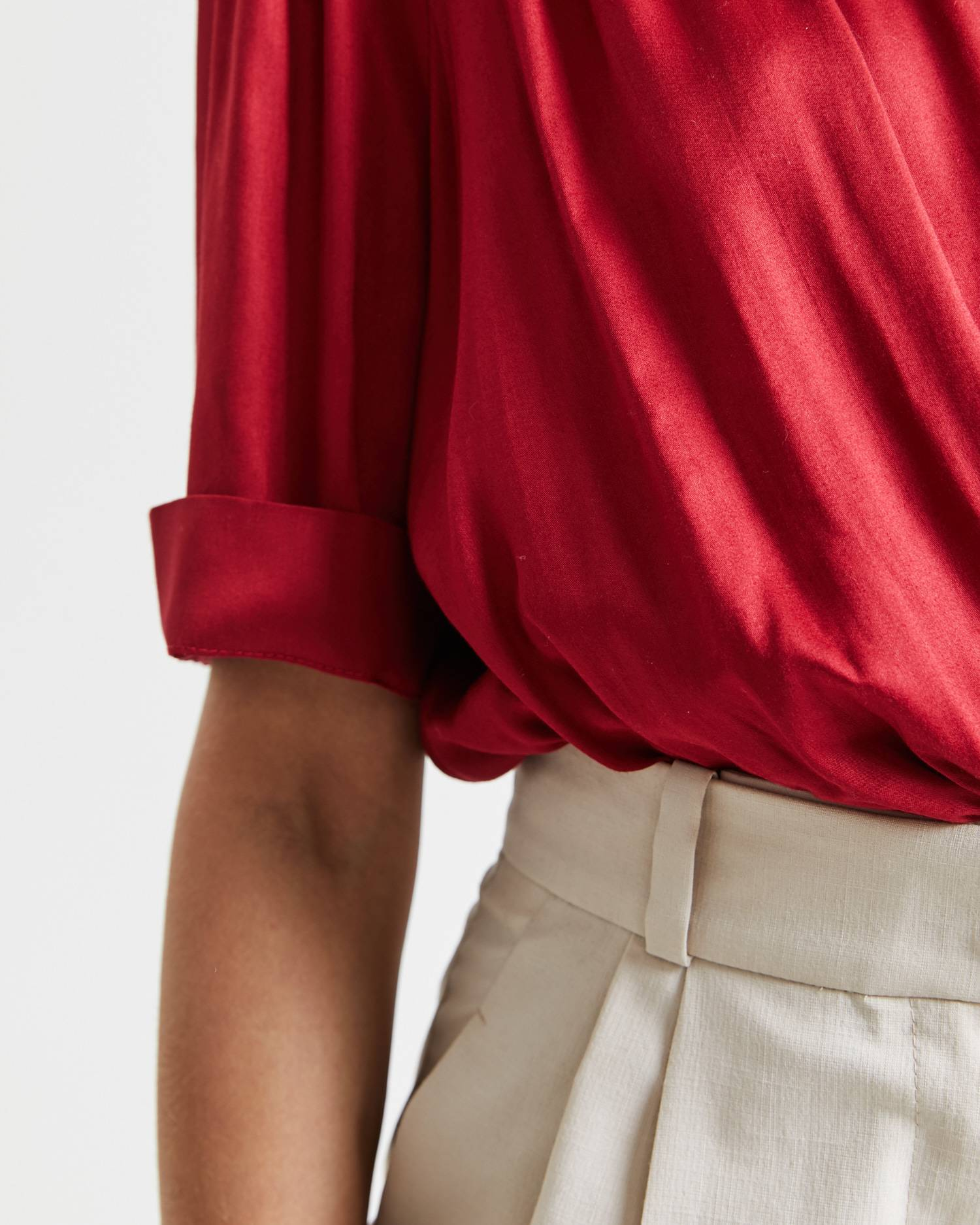 Draped cropped blouse