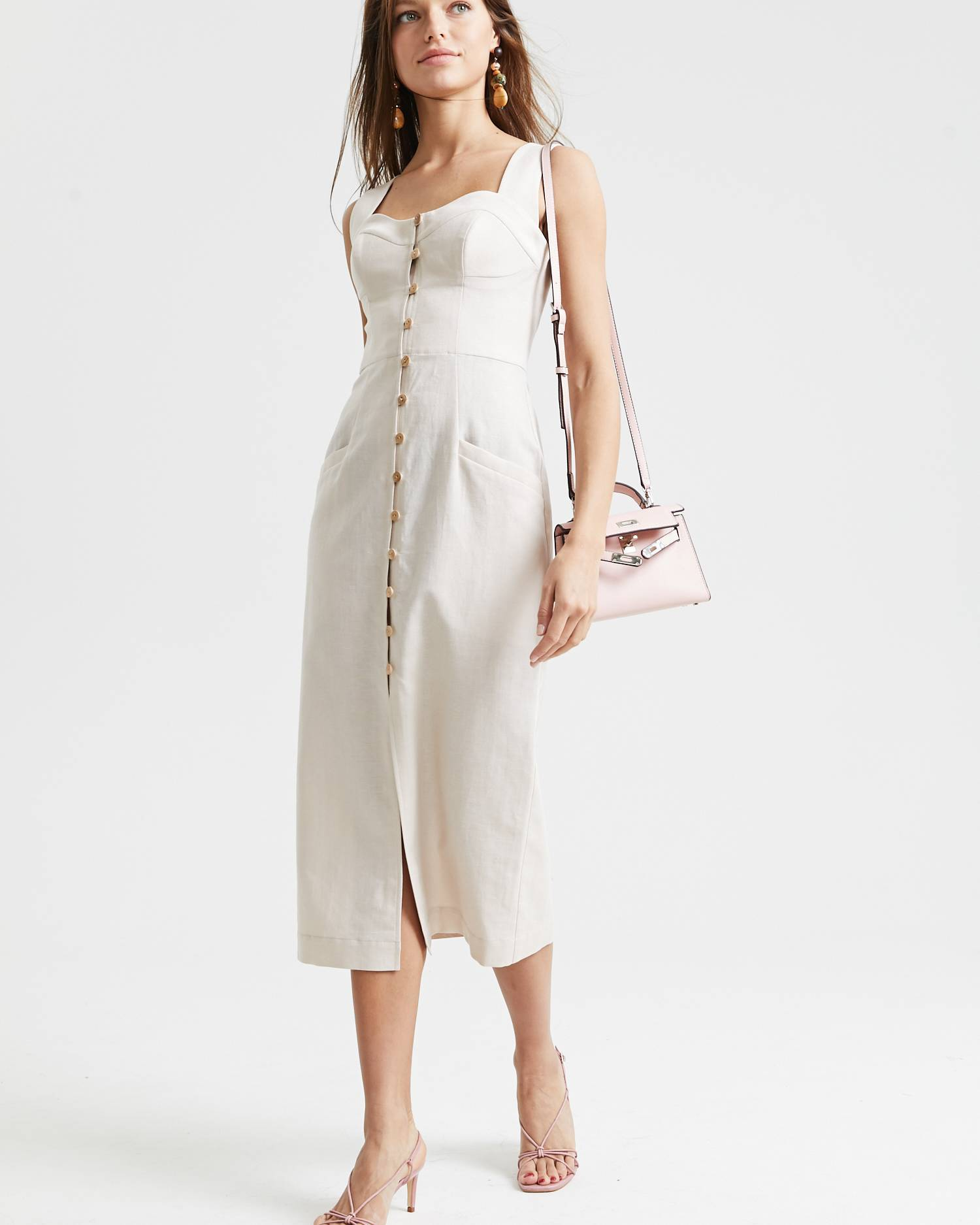 Linen wide strap pencil dress