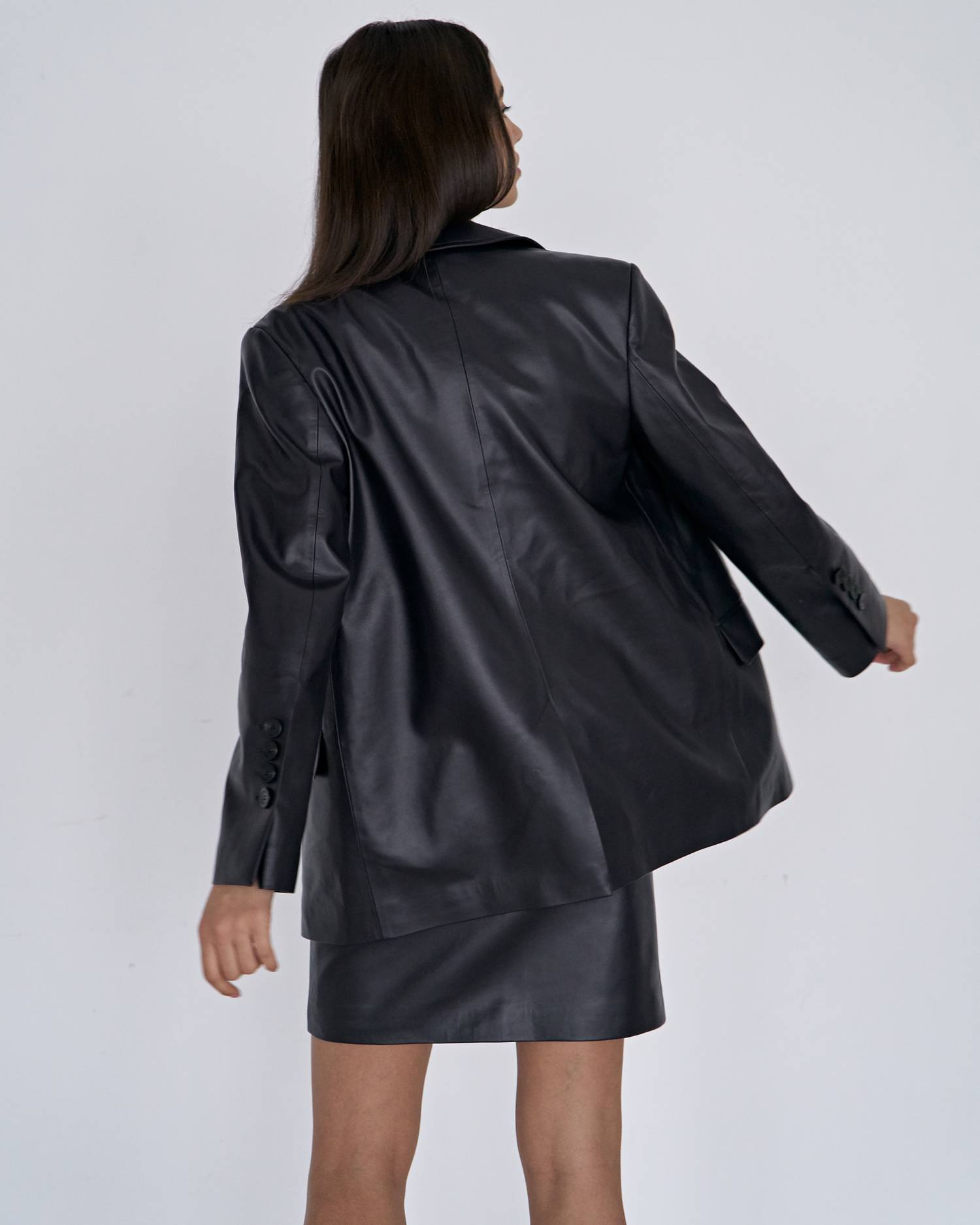 Eco-leather mini skirt