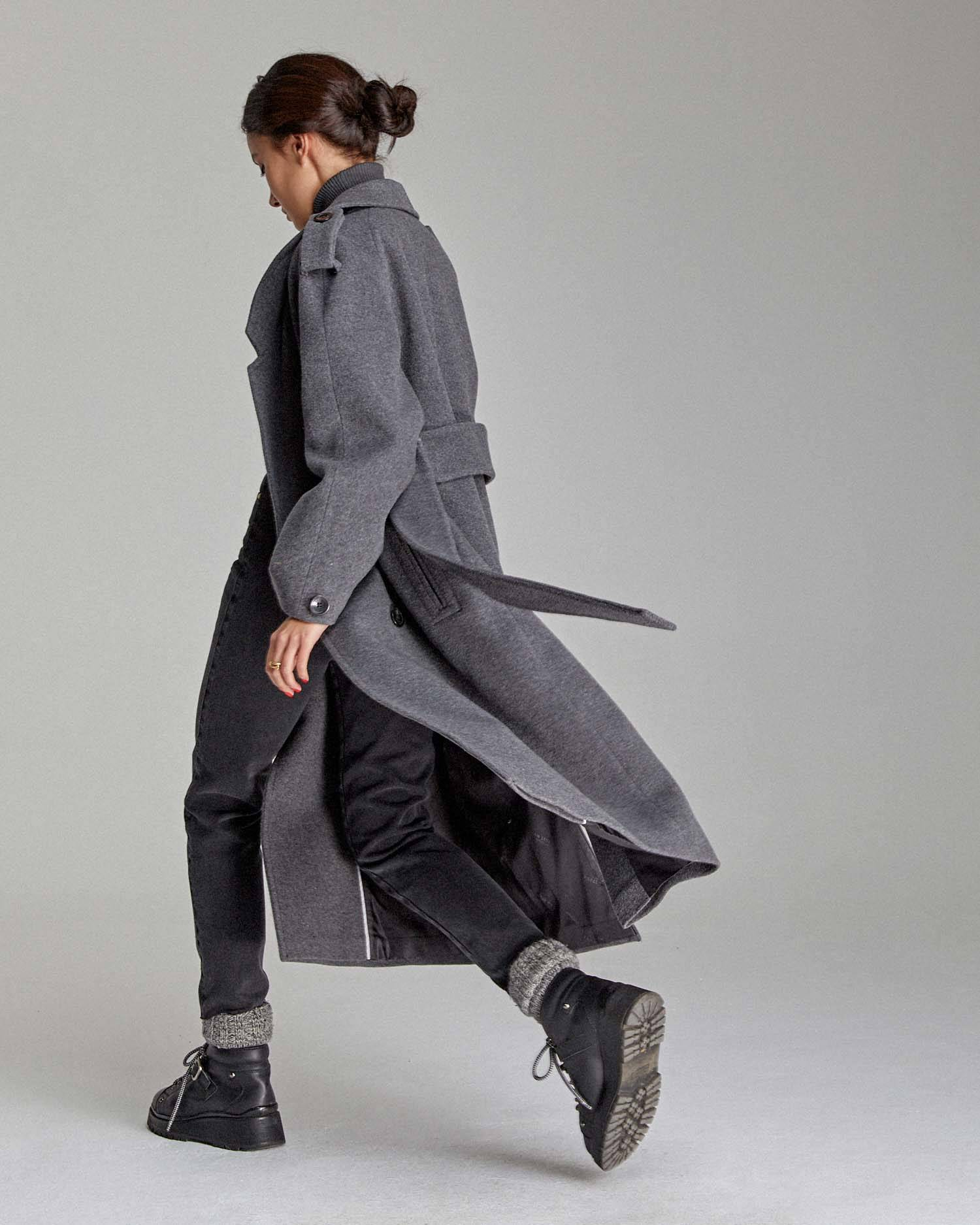 Wide belted robe coat