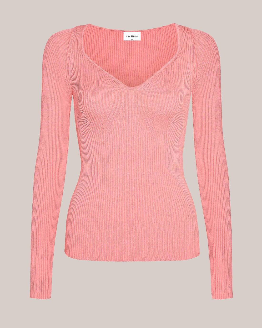 Ribbed sweater with heart neckline