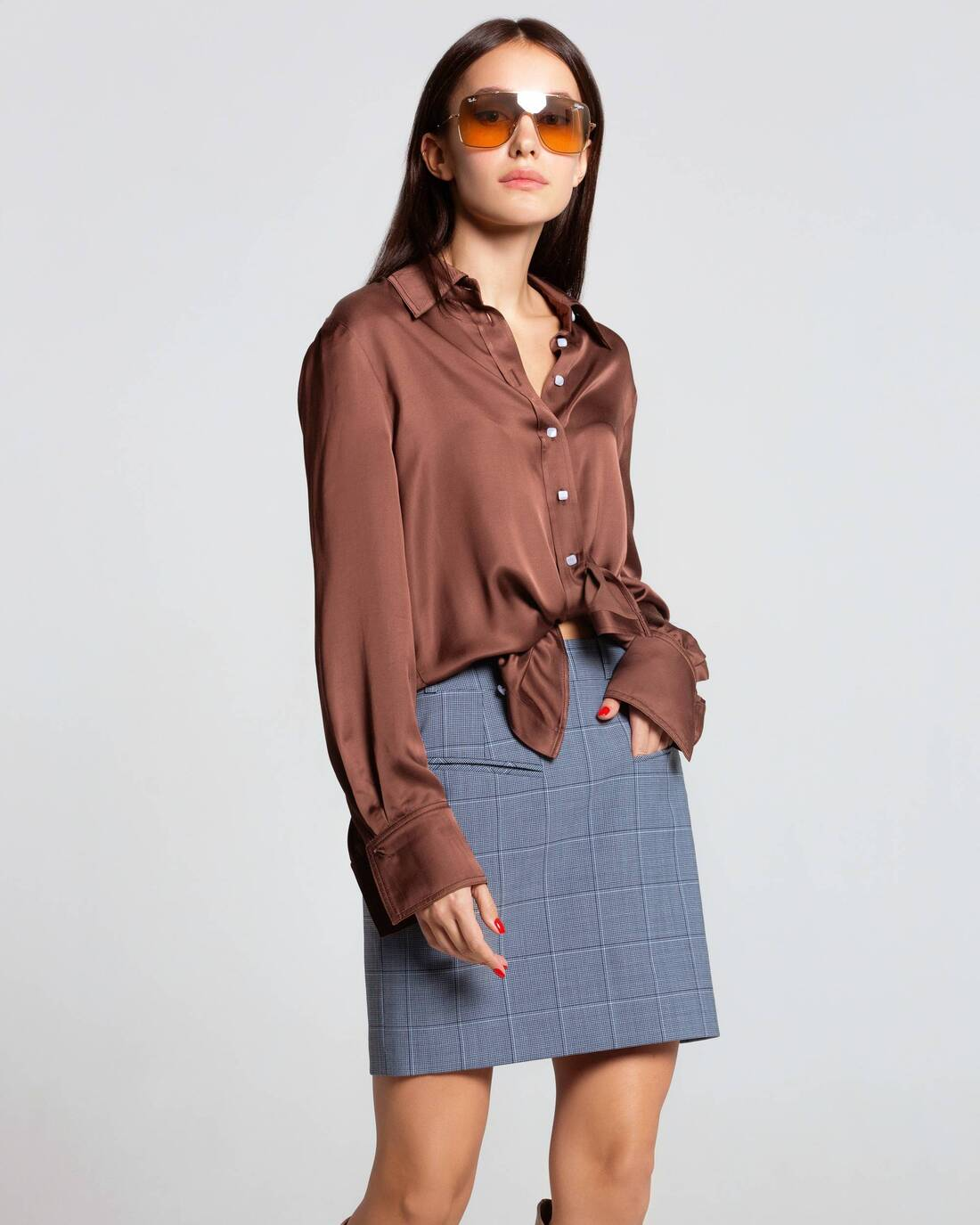 Classic satin blouse with a turn-down collar