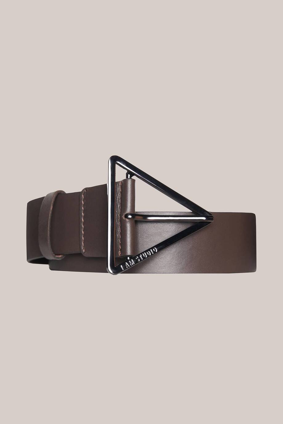 Leather belt with triangle buckle