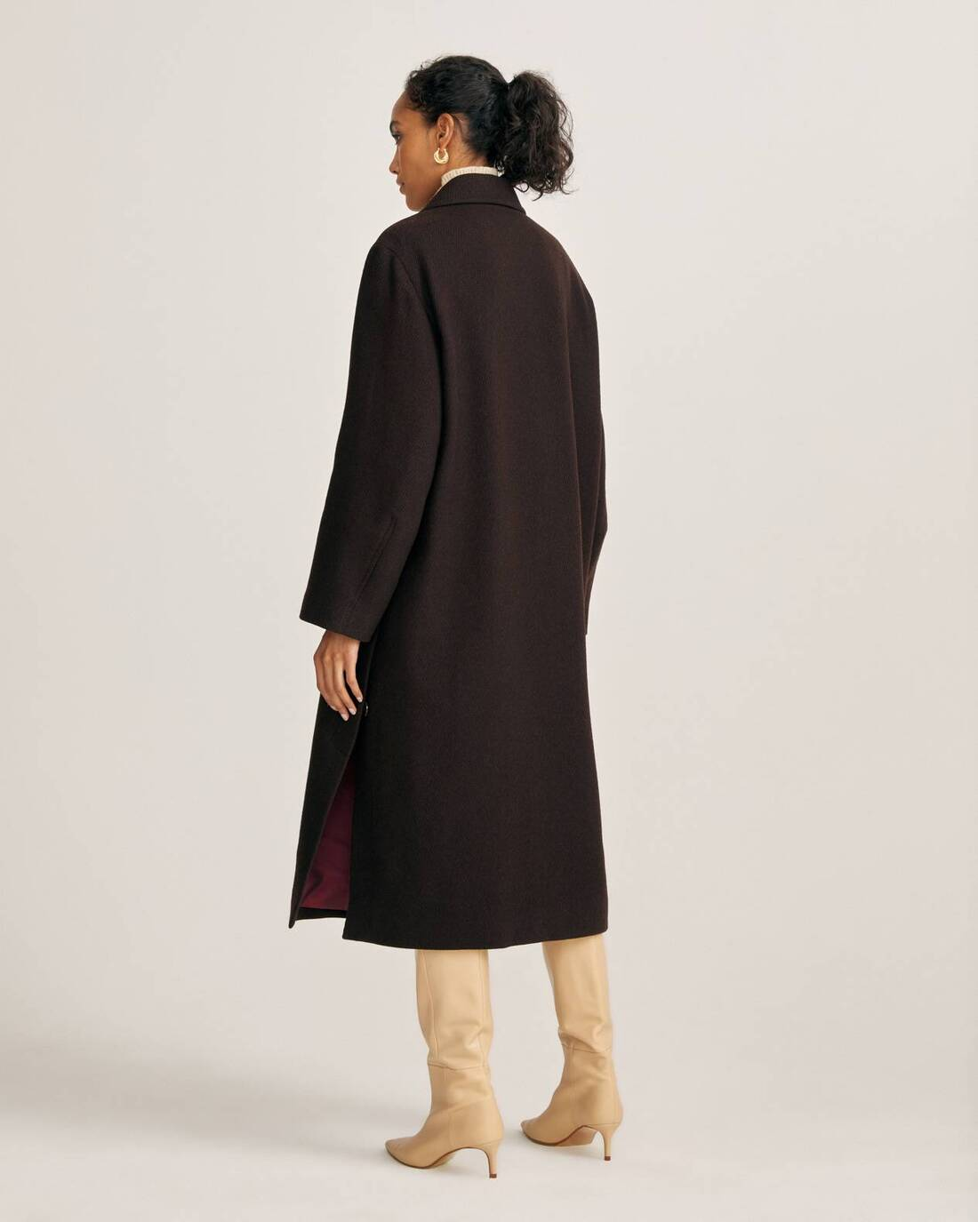 Single-breasted ribbed coat