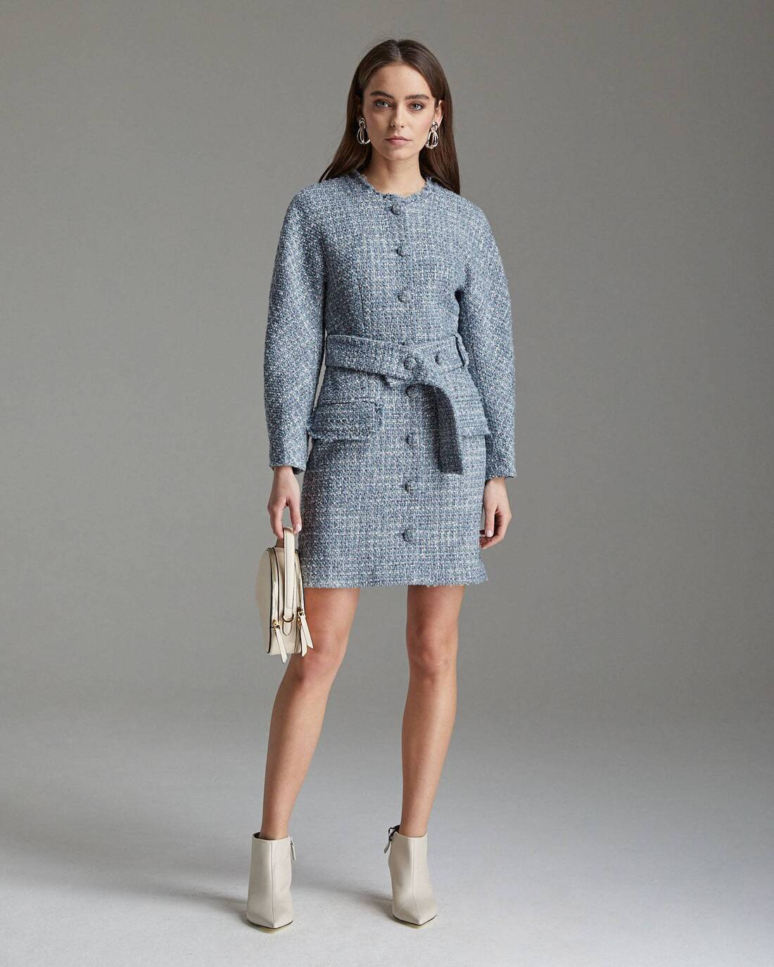 Tweed boucle button dress