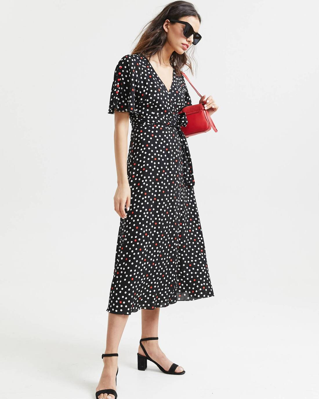 Printed midi dress with ruffles