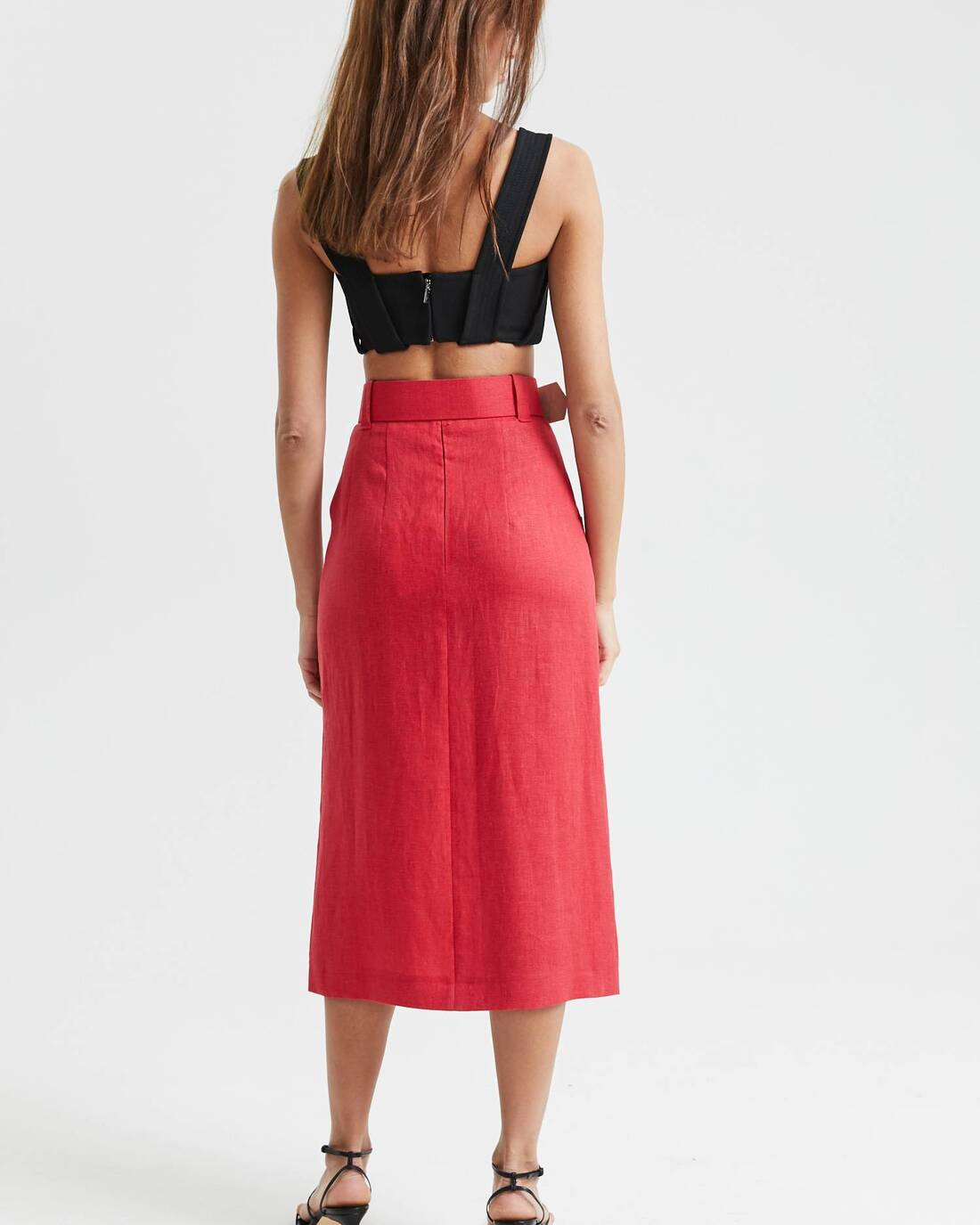 Belted double-breasted skirt