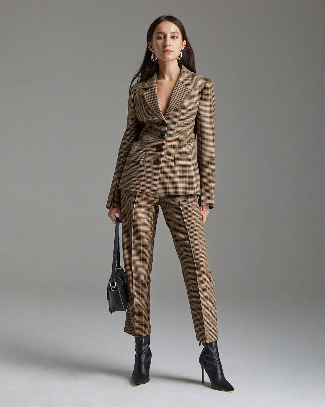 Fitted checked jacket