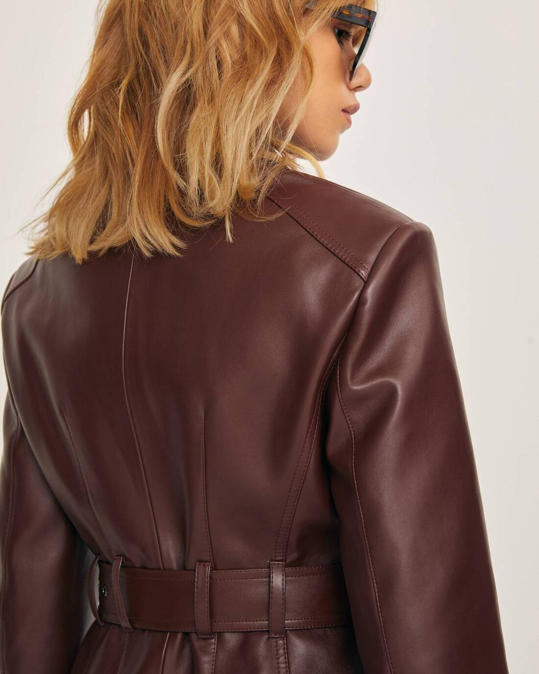 Single-breasted faux leather jacket