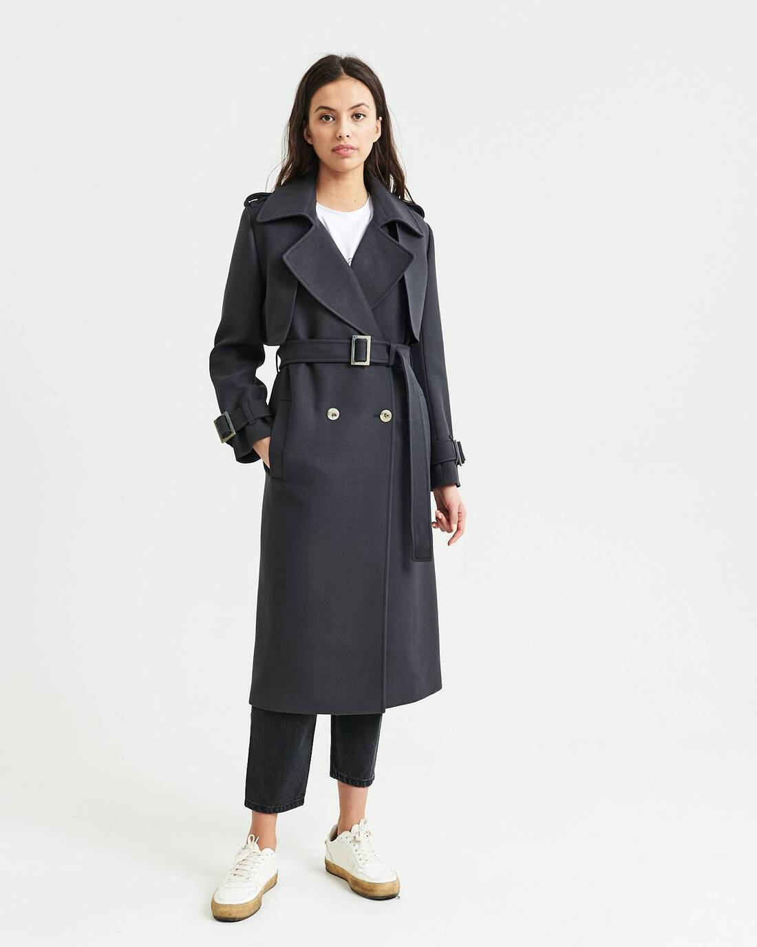 Double-breasted two-piece wool trenchcoat
