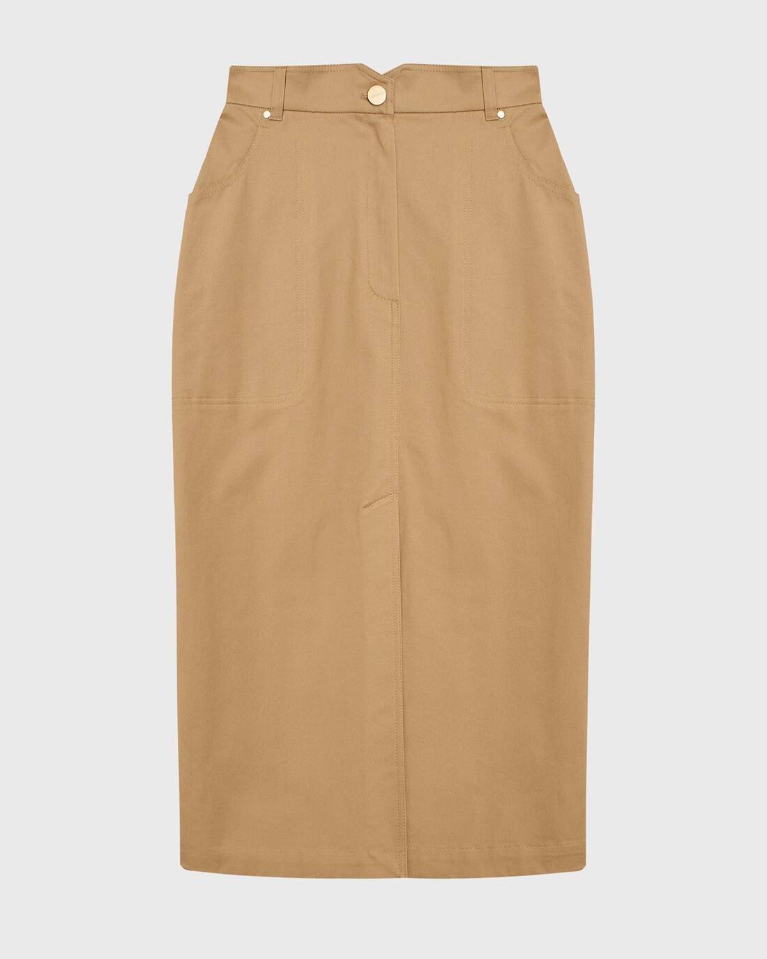 Twill midi skirt with relief detailing