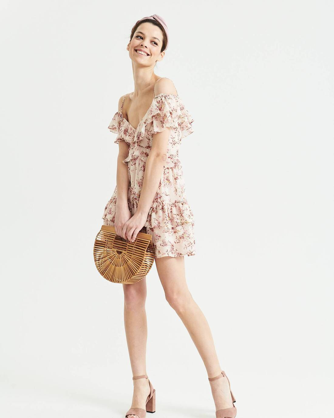 Floral print ruched mini dress