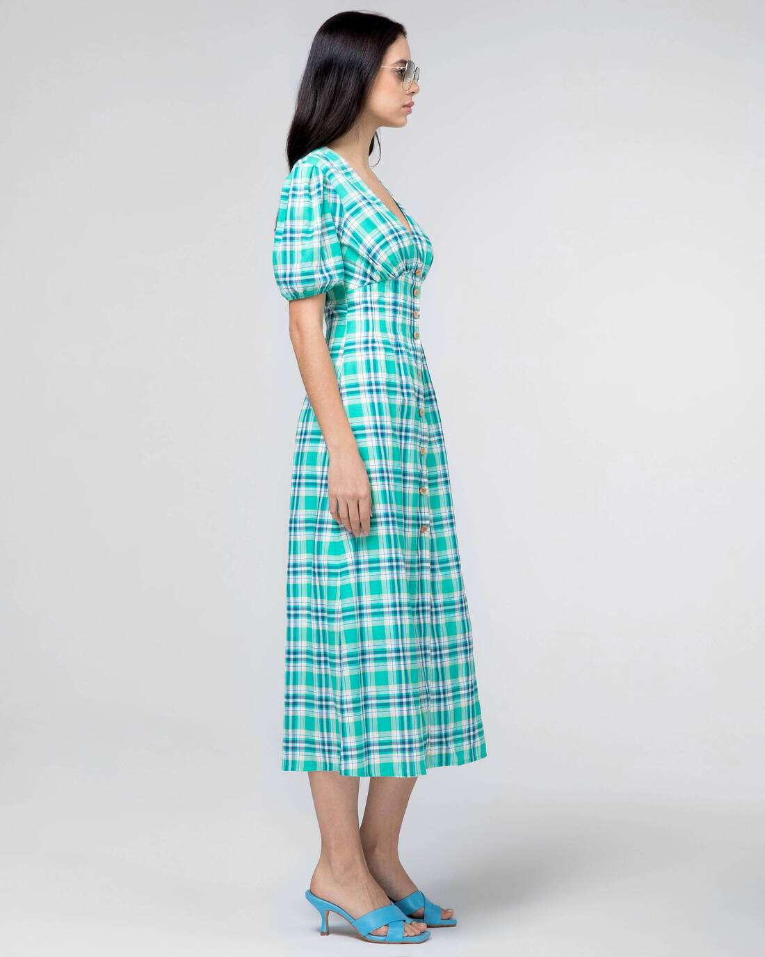 Checked cotton midi dress