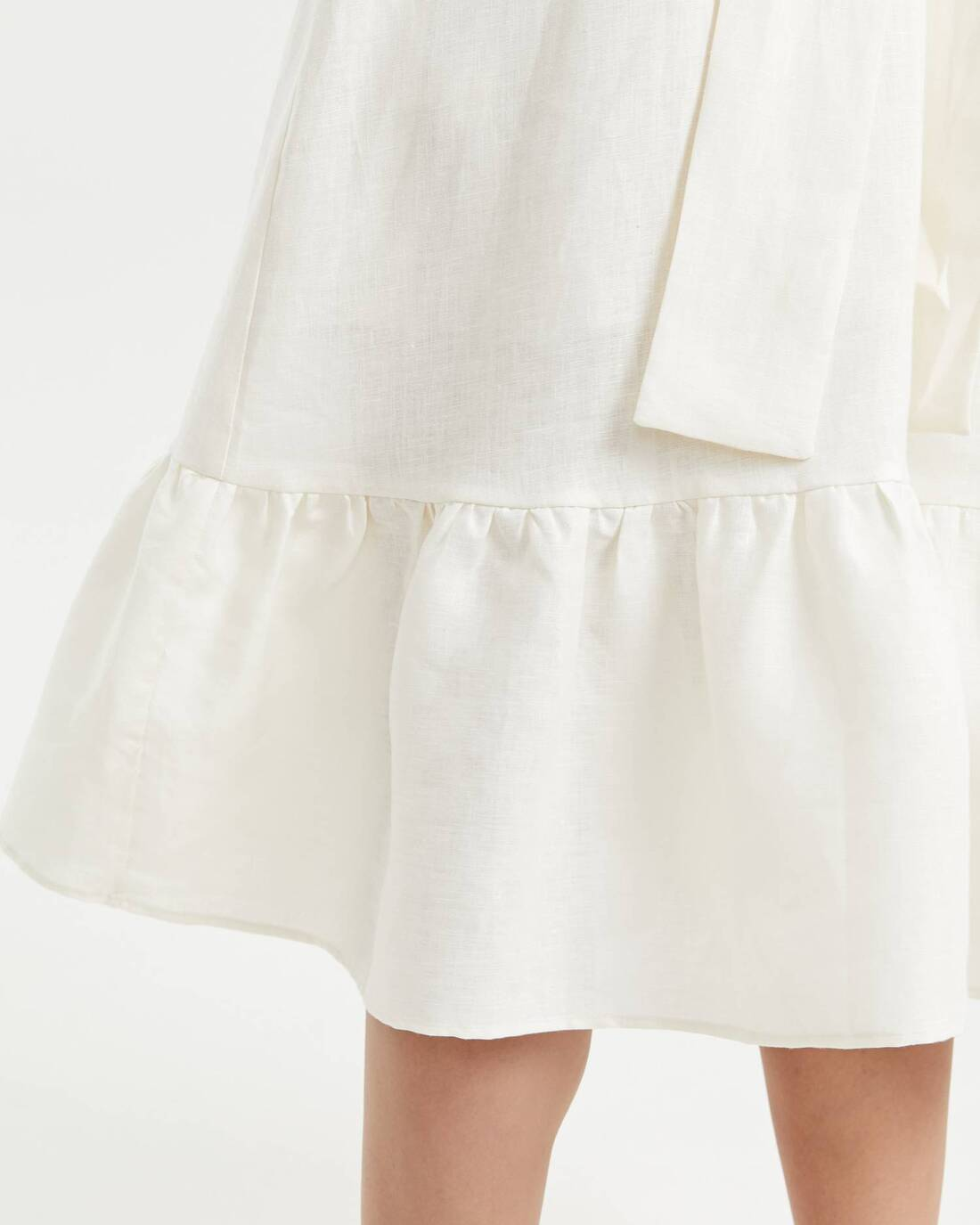 Linen ruched wide strap dress