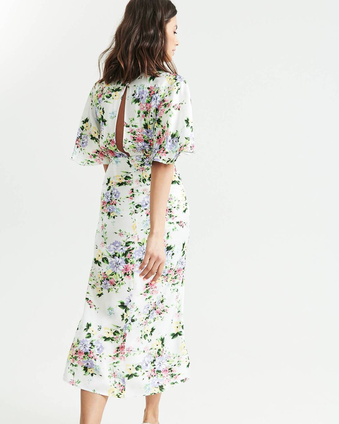 Floral print tea dress with flared sleeves