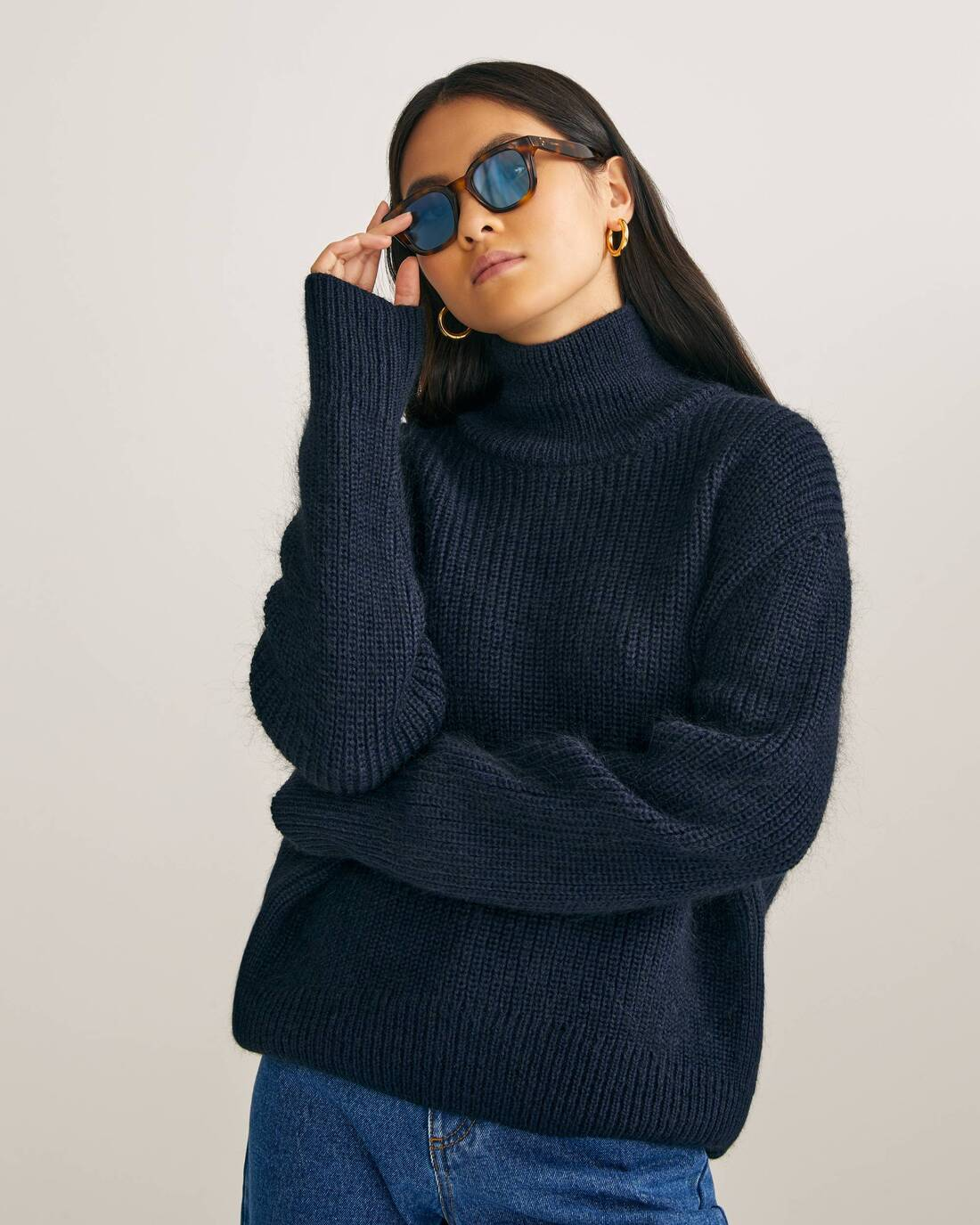 Elongated mohair sweater