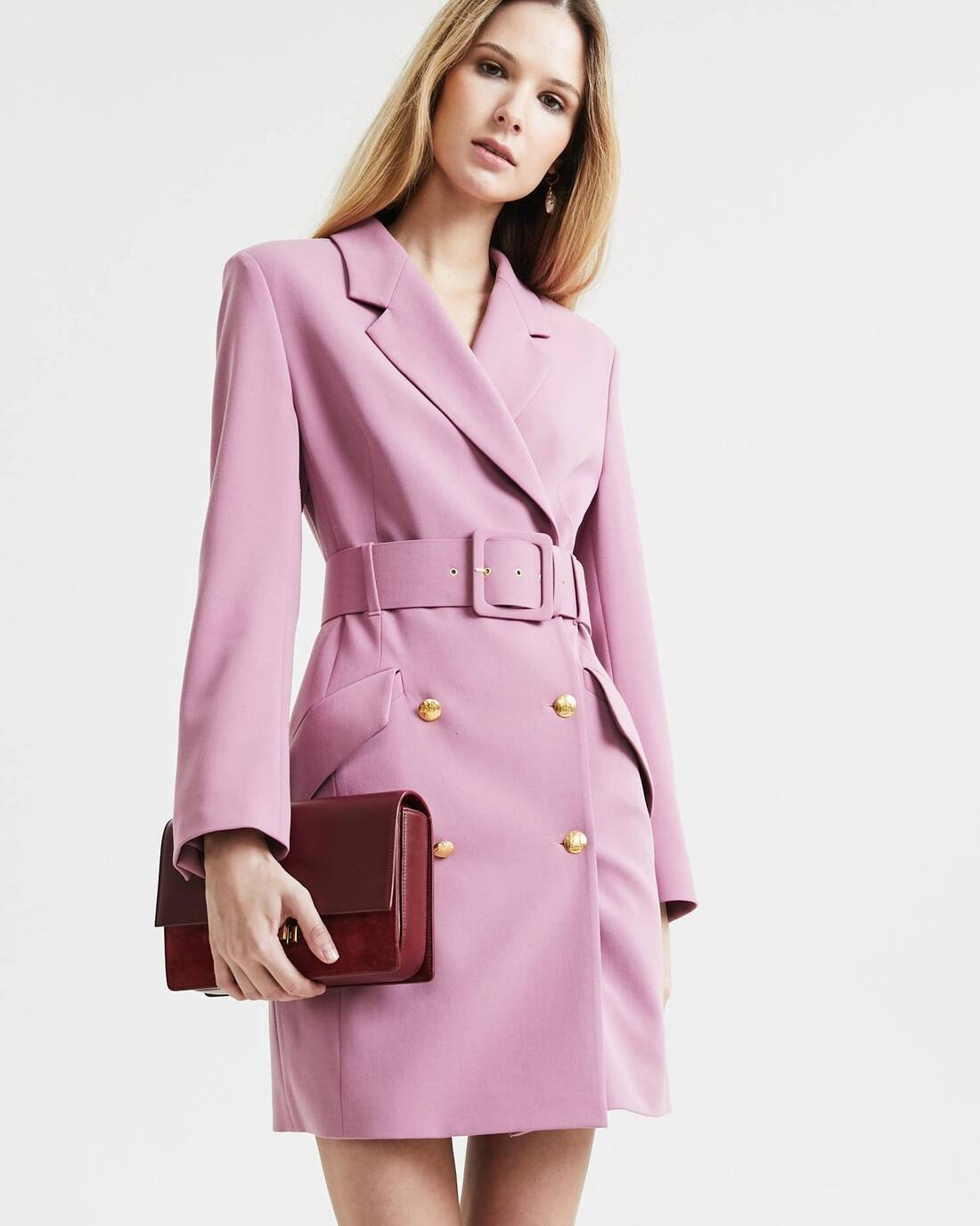 Belted suit dress