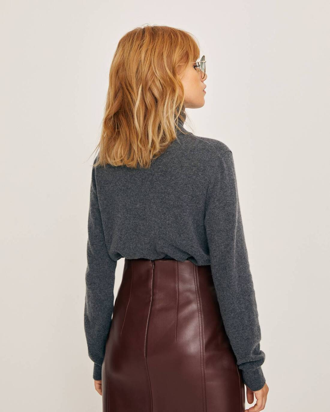 Loose-fit sweater with standing collar