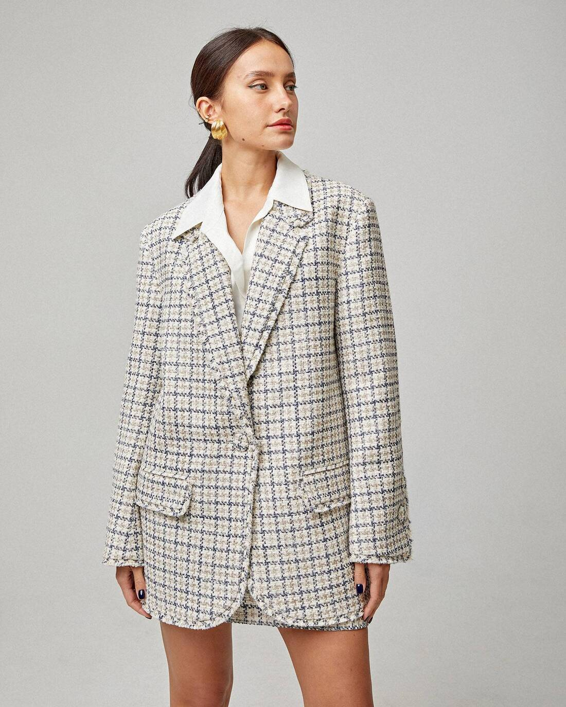 Checked straight-fit tweed jacket