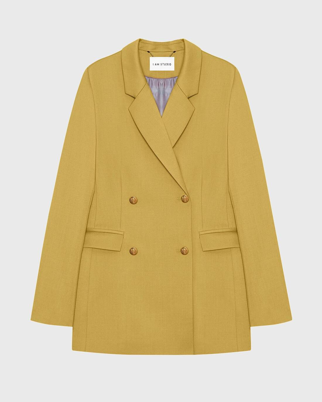 Fitted wool blazer with golden buttons