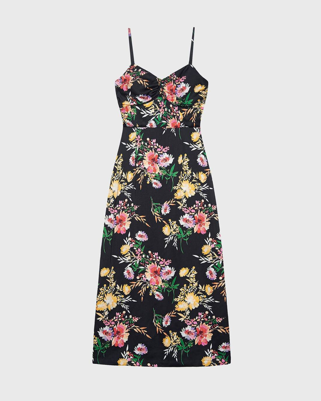 Printed ruched bustier dress