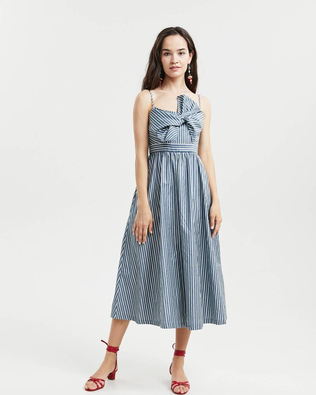 Bow belt midi dress